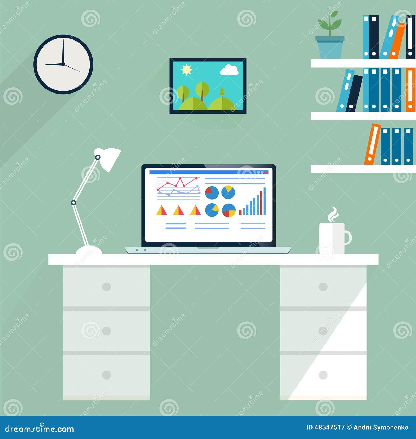 Estação de trabalho do escritório Computador no espaço de trabalho, vetor