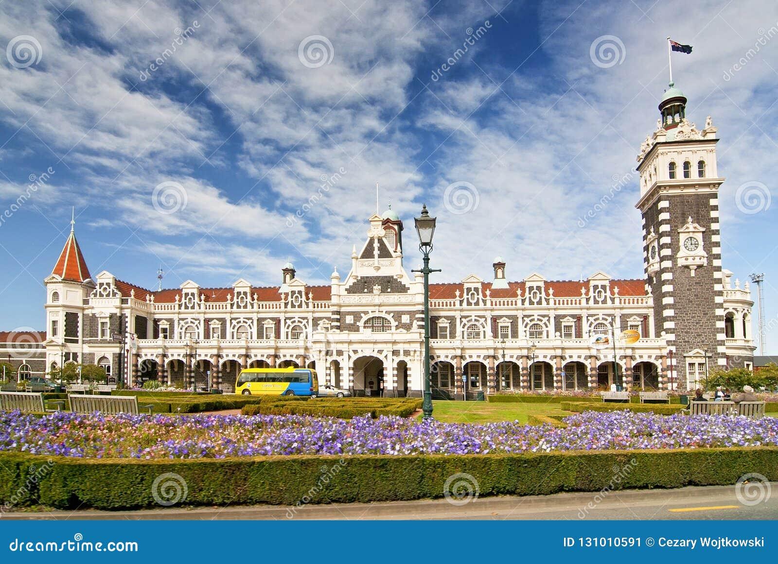 Estação de trem histórica em Dunedin, Otago, ilha sul, Nova Zelândia