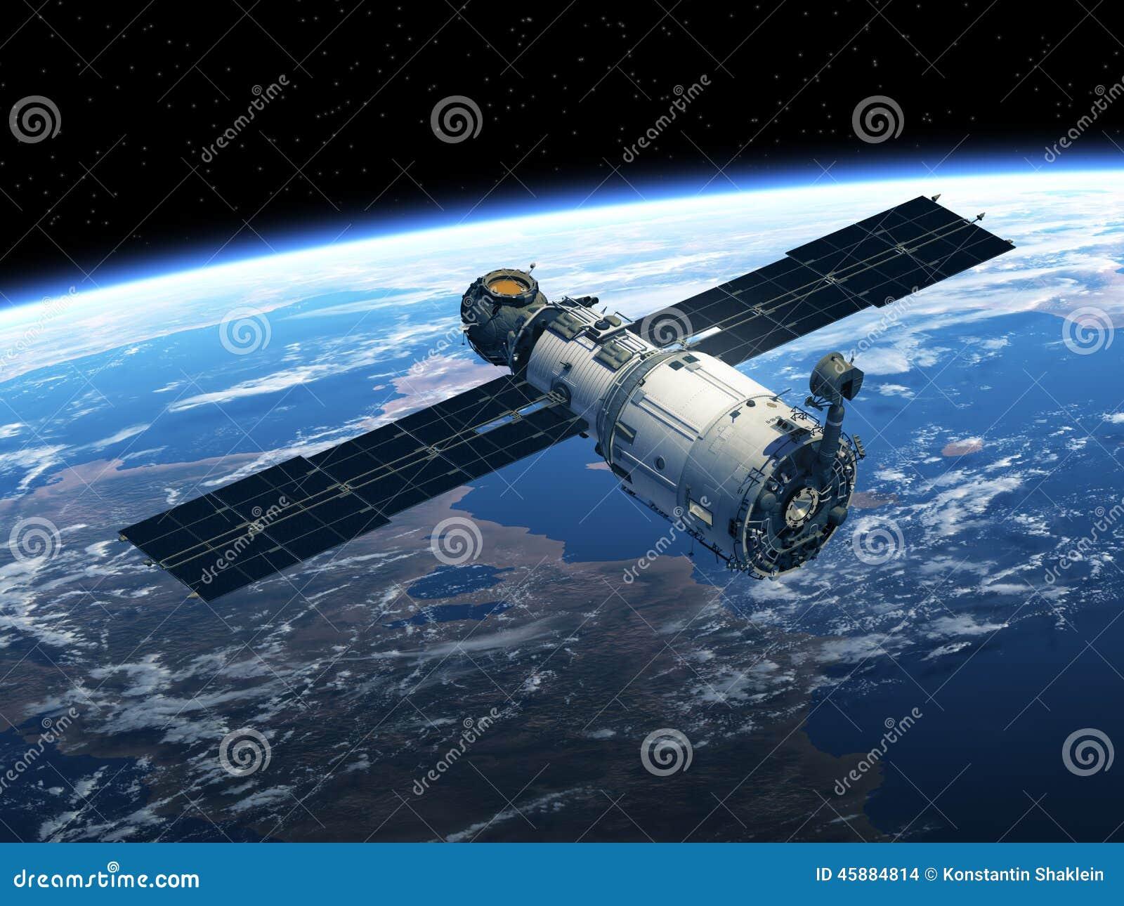 Estación espacial en espacio