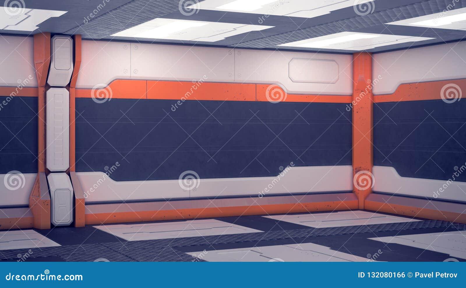 Estación espacial interior de la ciencia ficción Los paneles futuristas blancos con acentos anaranjados Pasillo de la nave espaci