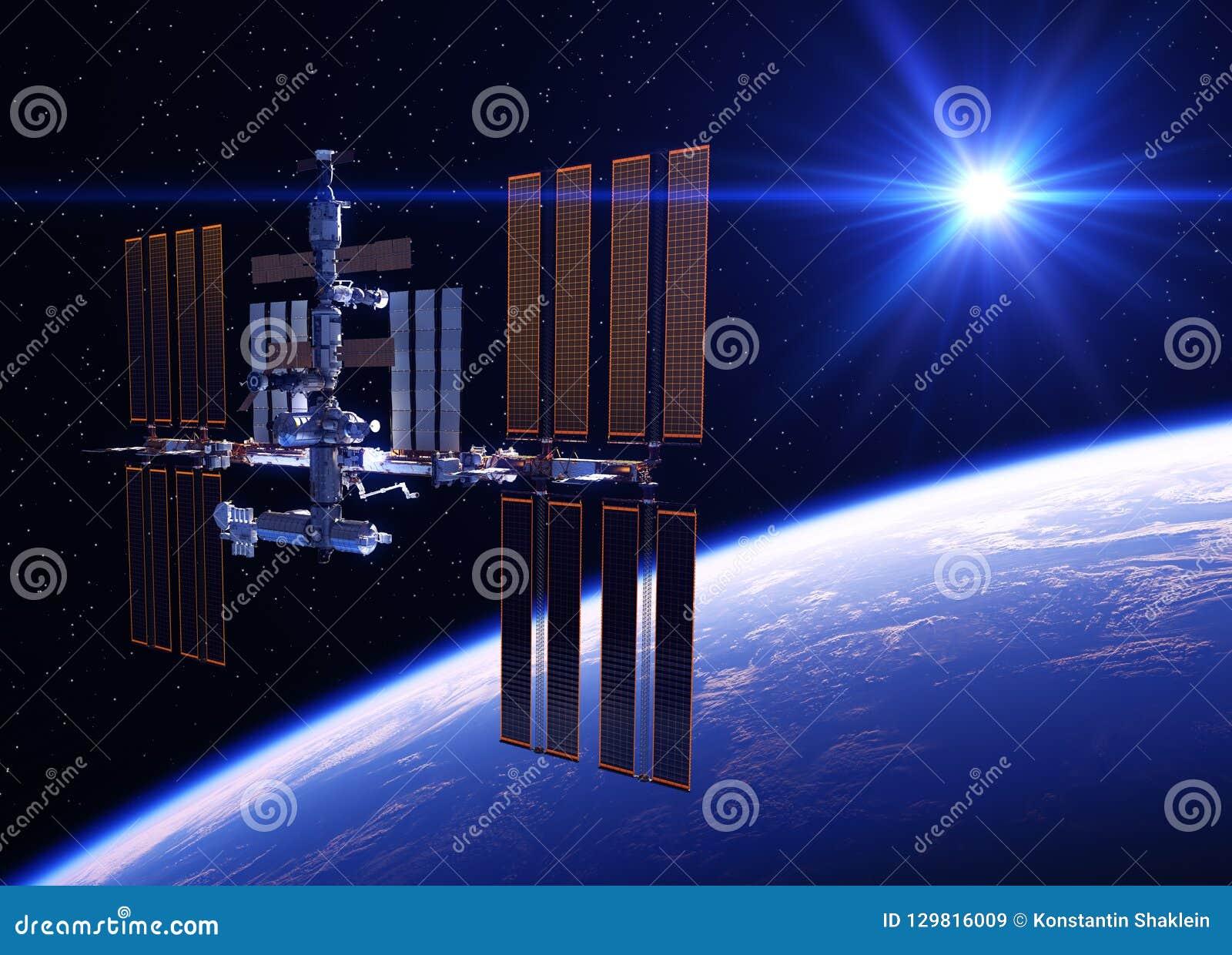 Estación espacial internacional que está en órbita la tierra azul del planeta