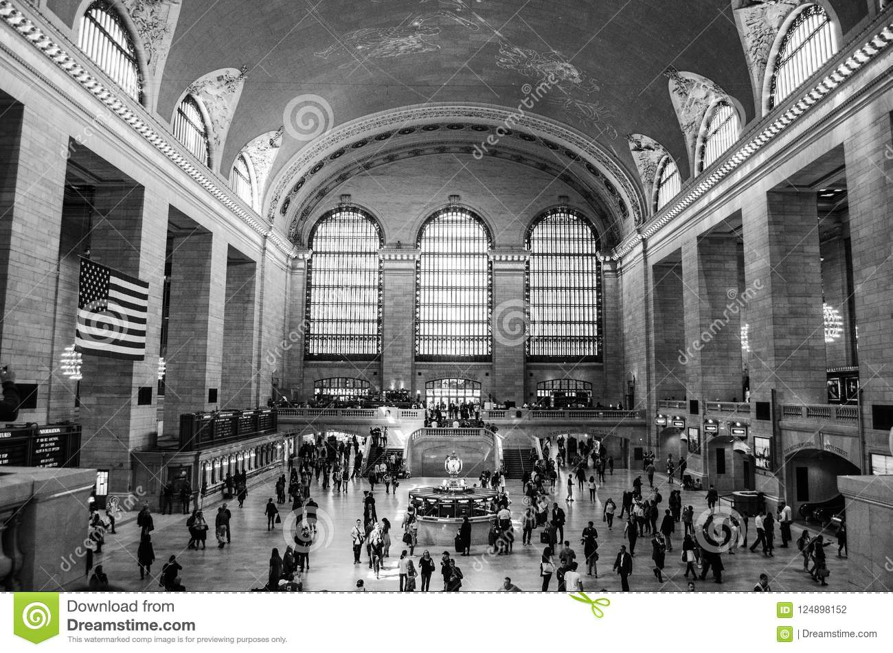 Estación New York City de Grand Central blanco y negro