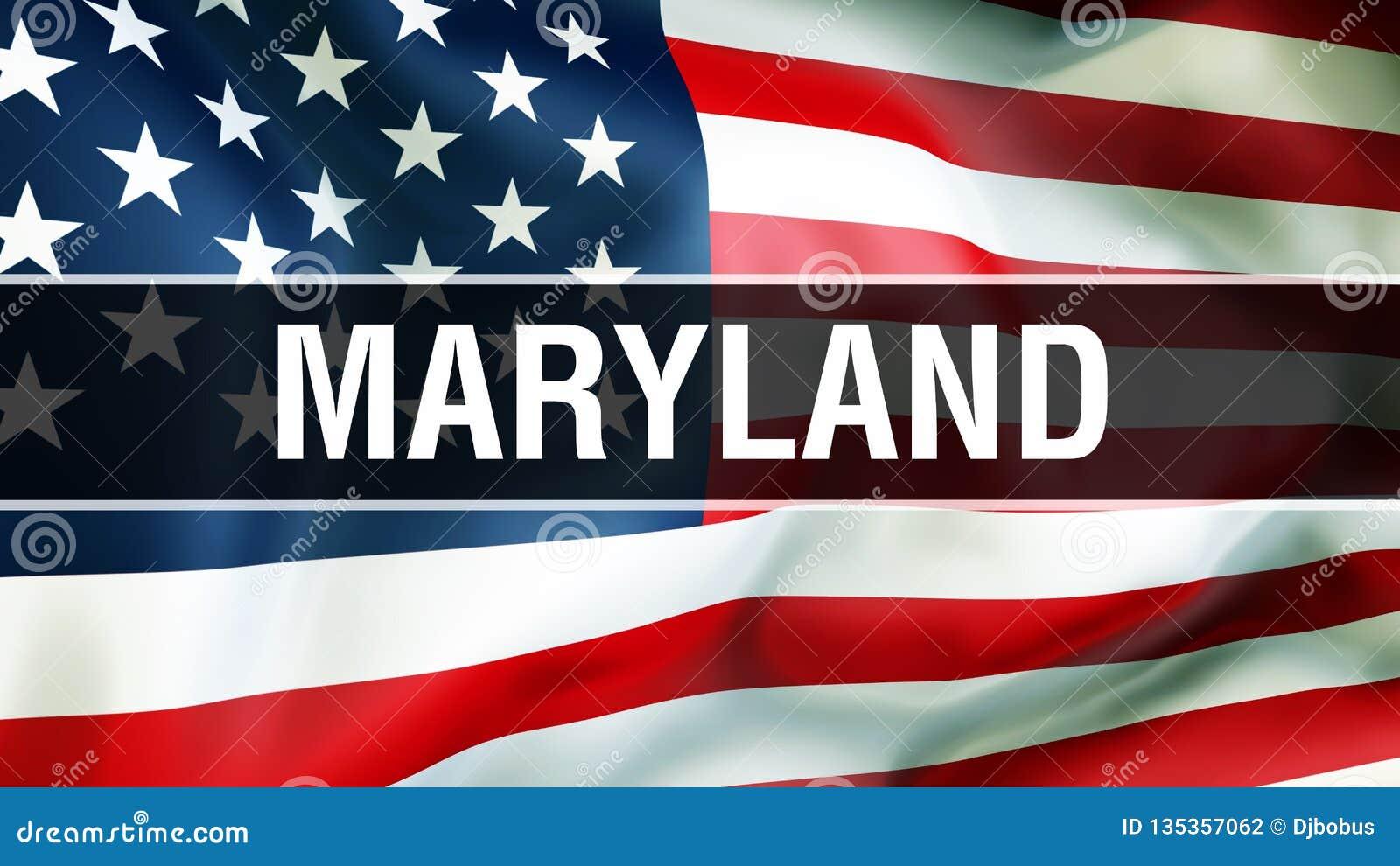 Estado en un fondo de la bandera de los E.E.U.U., de Maryland representación 3D Bandera de los Estados Unidos de América que agit