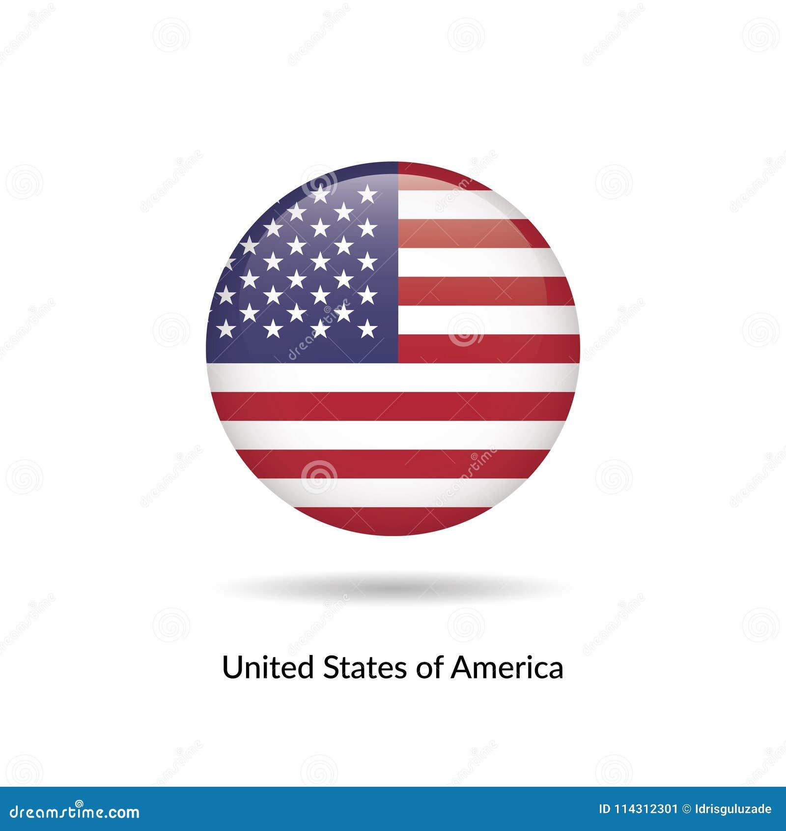 Estados desatados de bandeira de América - lustroso redondo