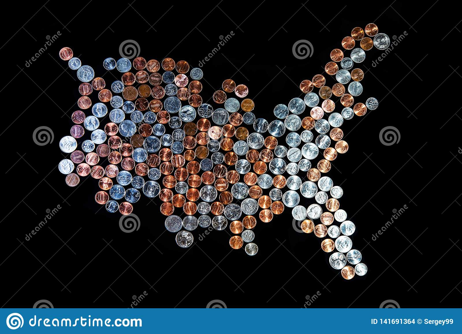 Estados Unidos da América do mapa - fundo da moeda Moedas de um centavo/quartos dos centavos
