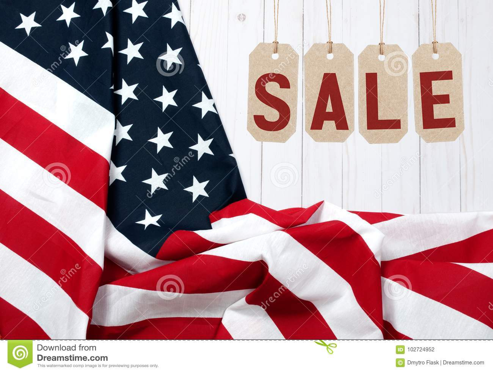 Estados Unidos embandeiram Feriado americano Venda