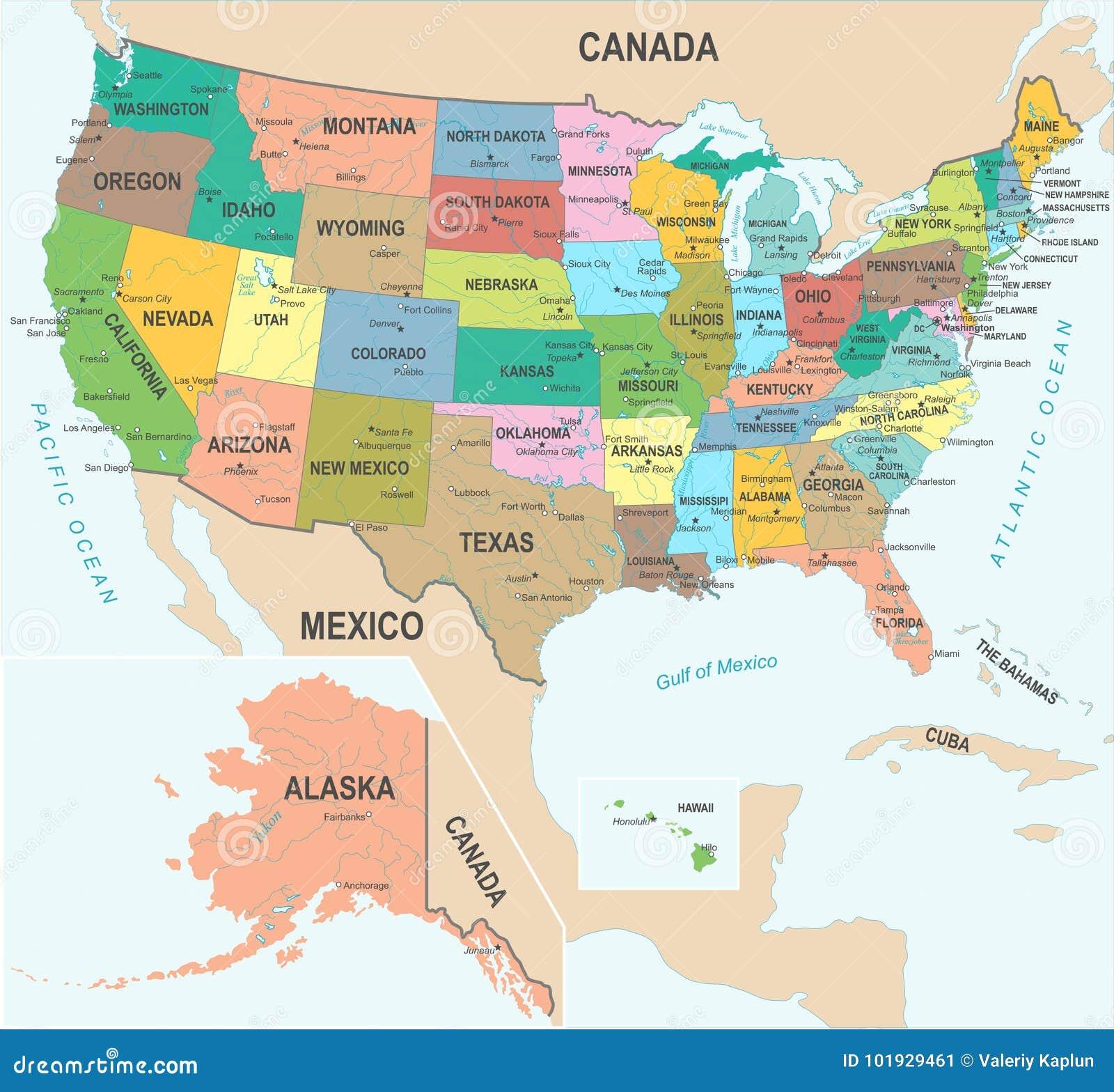 Miami Mapa Estados Unidos.Estados Unidos Trazan El Ejemplo Del Vector Stock De