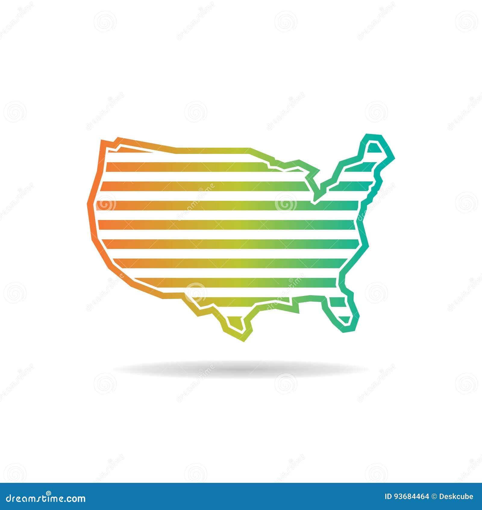 Estados Unidos trazan las rayas horizontales Logo Design