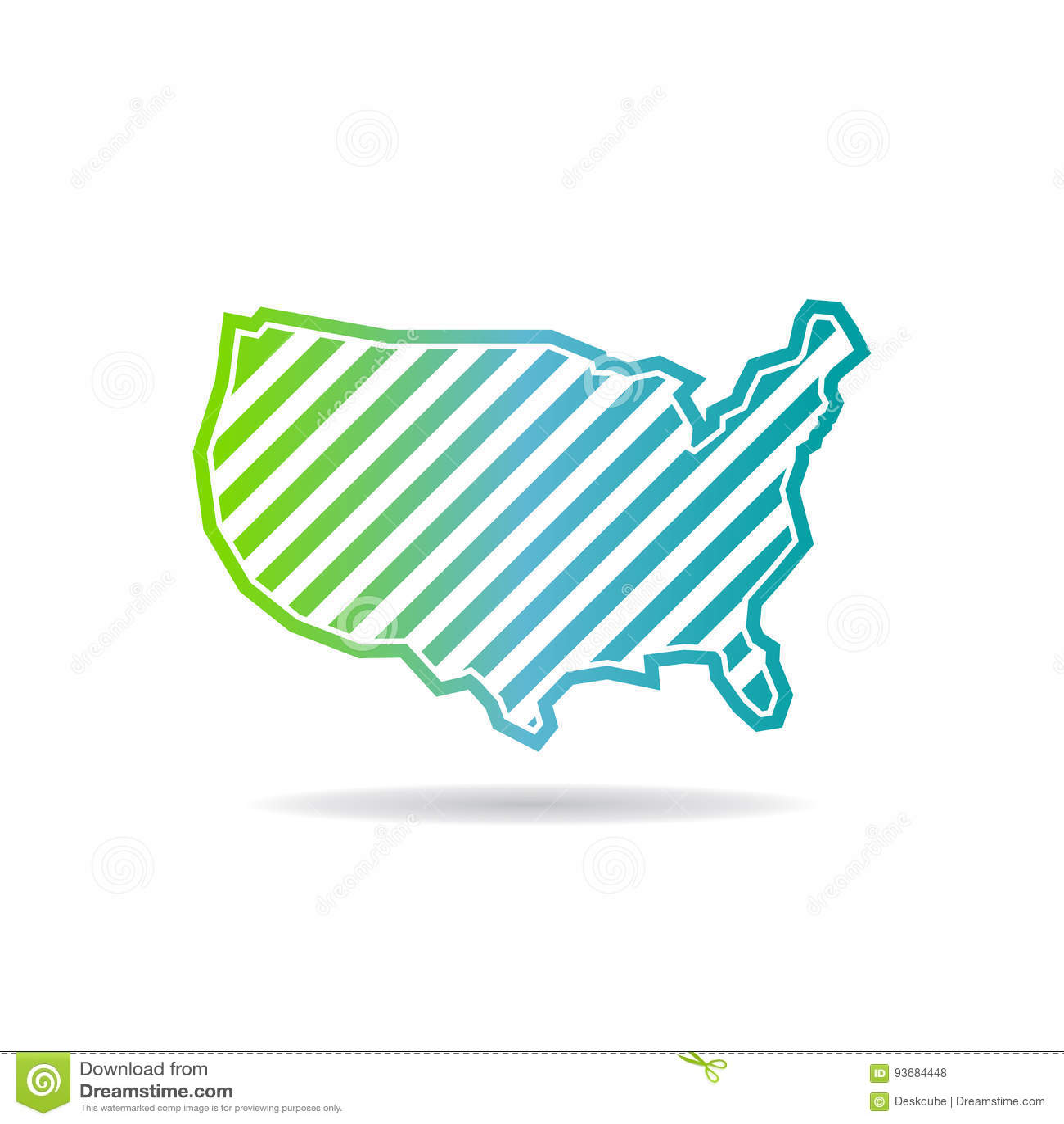 Estados Unidos trazan las rayas oblicuas Logo Design