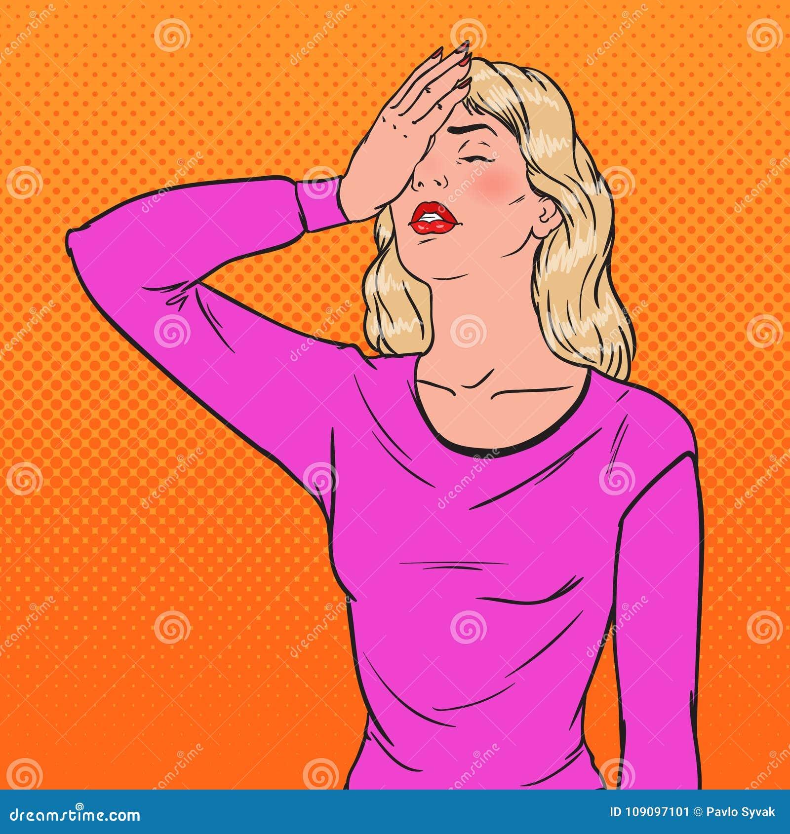Estallido Art Ashamed Young Woman Covering su cara con las manos Emoción de la negativa de la expresión facial