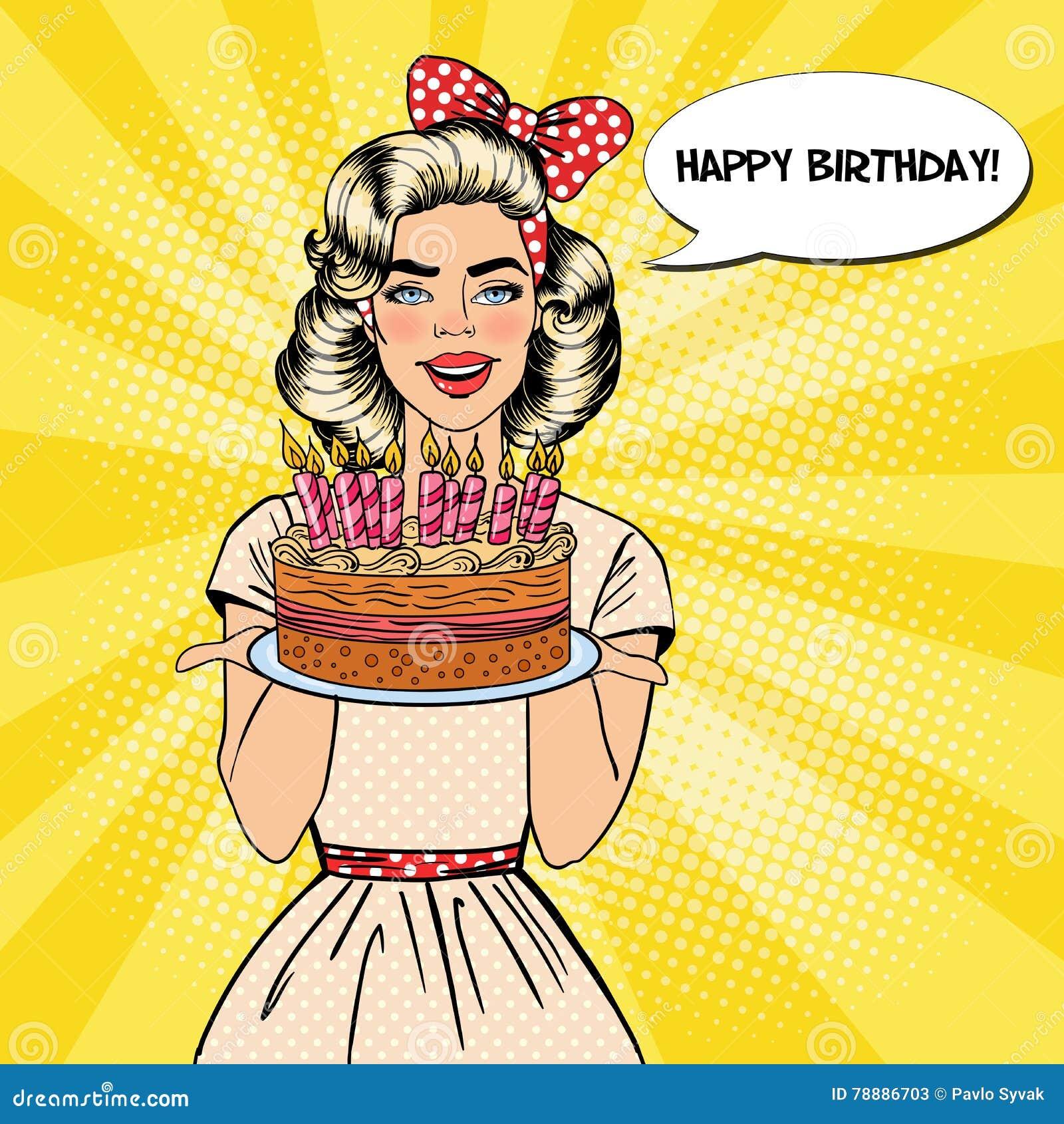 Estallido Art Beautiful Woman Holding una placa con la torta del feliz cumpleaños con las velas