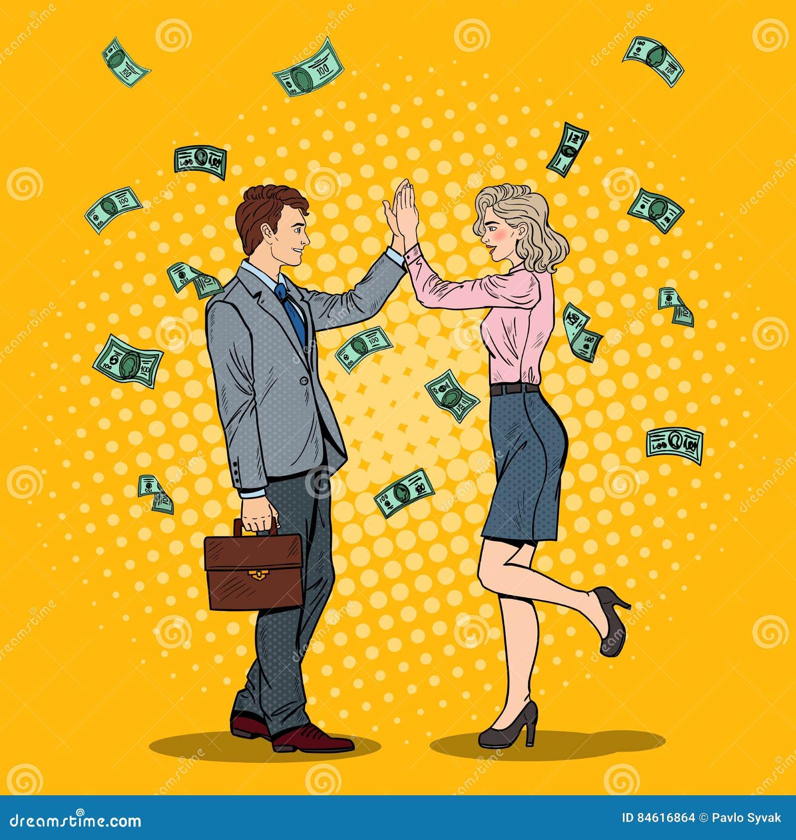 Estallido Art Businessman Giving High Five a la mujer de negocios El caer abajo dinero