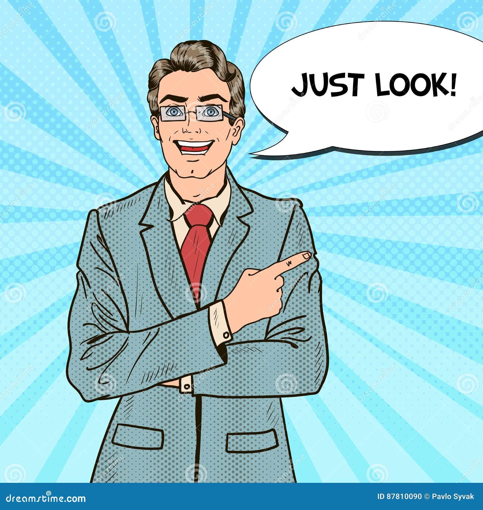 Estallido Art Businessman Pointing Copy Space con la burbuja cómica del discurso