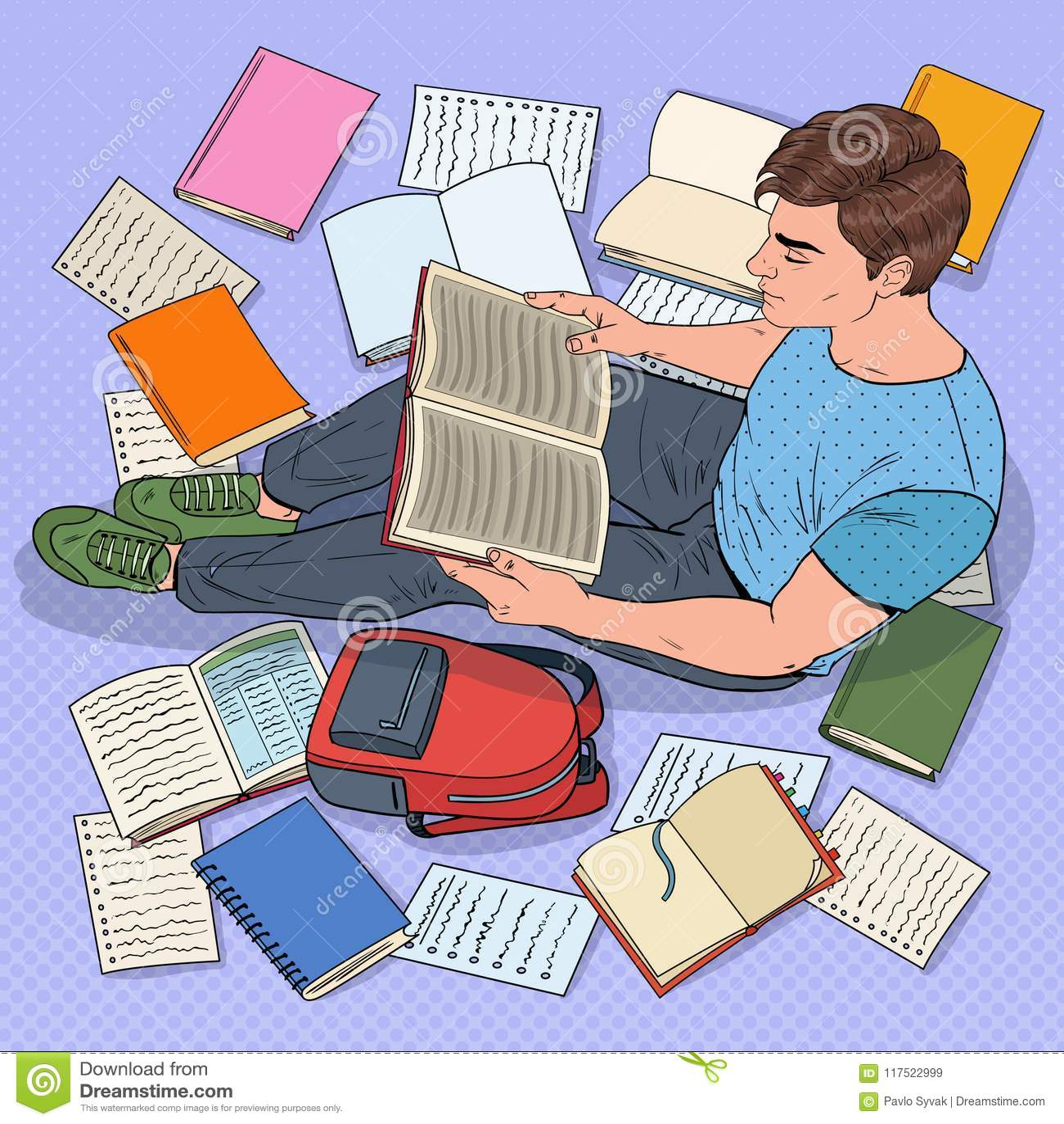 Estallido Art Male Student Reading Books que se sienta en el piso Adolescente que se prepara para los exámenes Educación, estudio