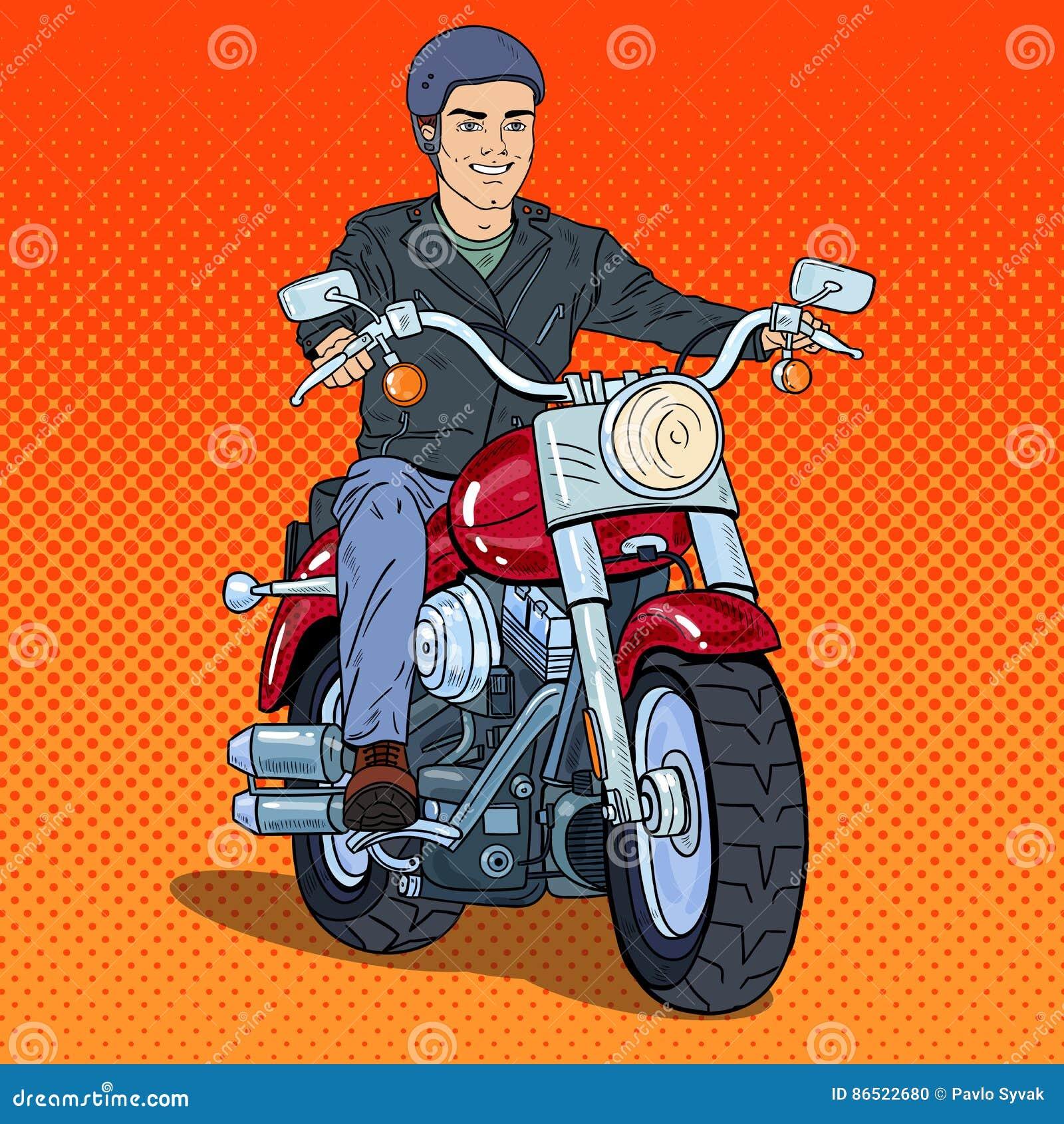 Estallido Art Man Biker Riding un interruptor