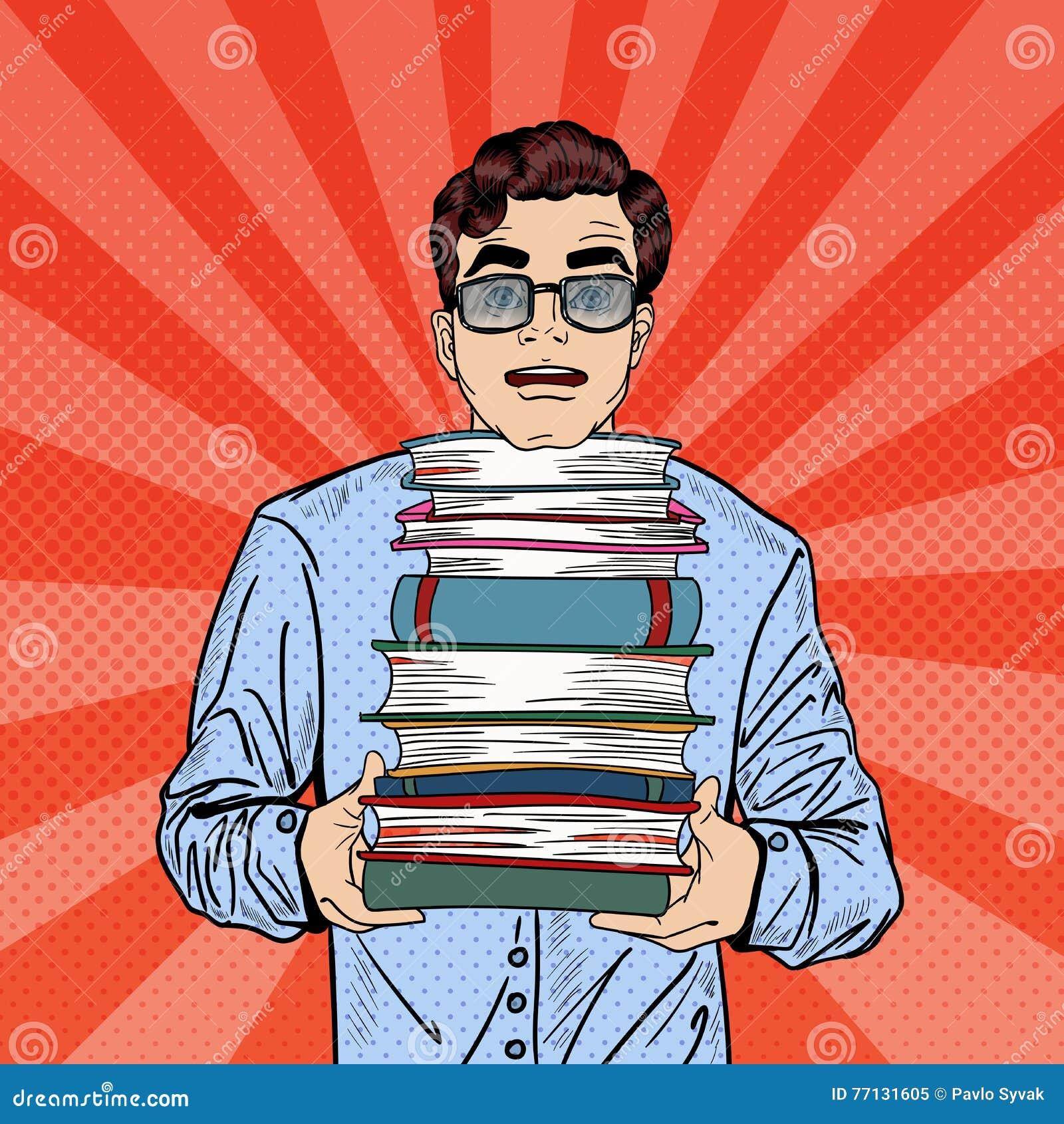 Estallido Art Man Student Holding Stack de libros