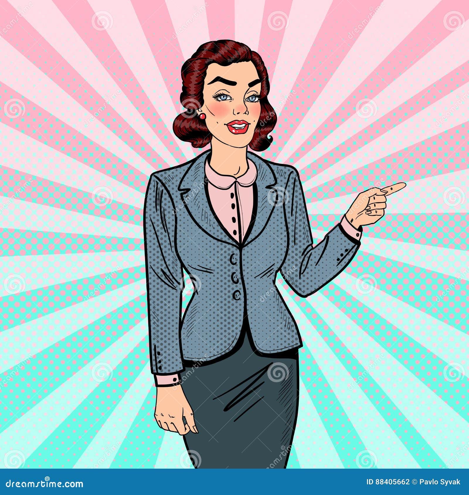 Estallido Art Successful Business Woman Pointing en espacio de la copia Presentación del asunto