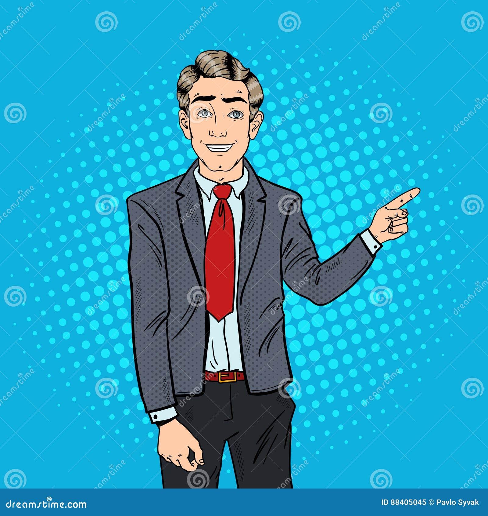 Estallido Art Successful Businessman Pointing Finger en espacio de la copia Presentación del asunto