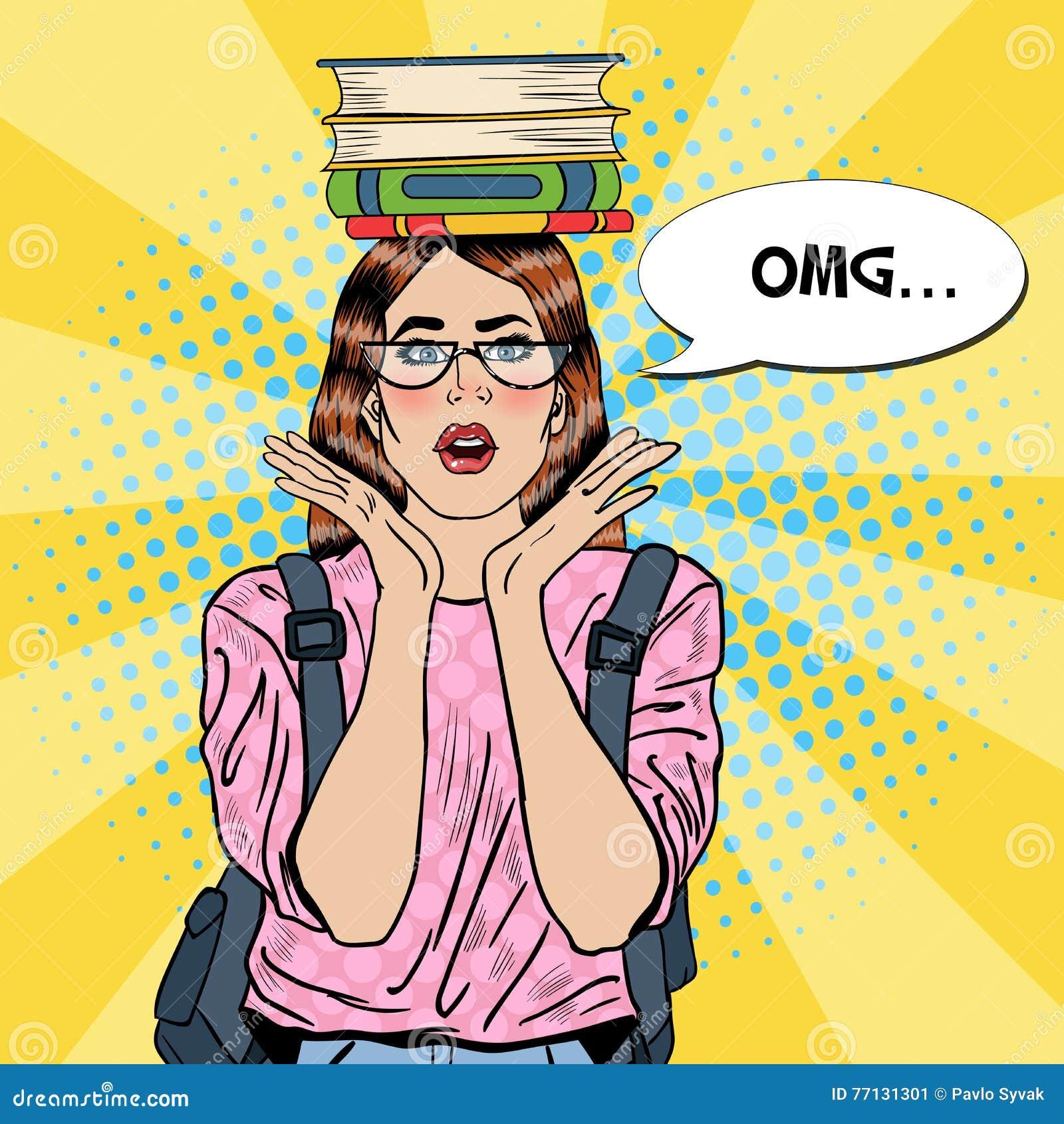 Estallido Art Woman Student con los libros en su cabeza