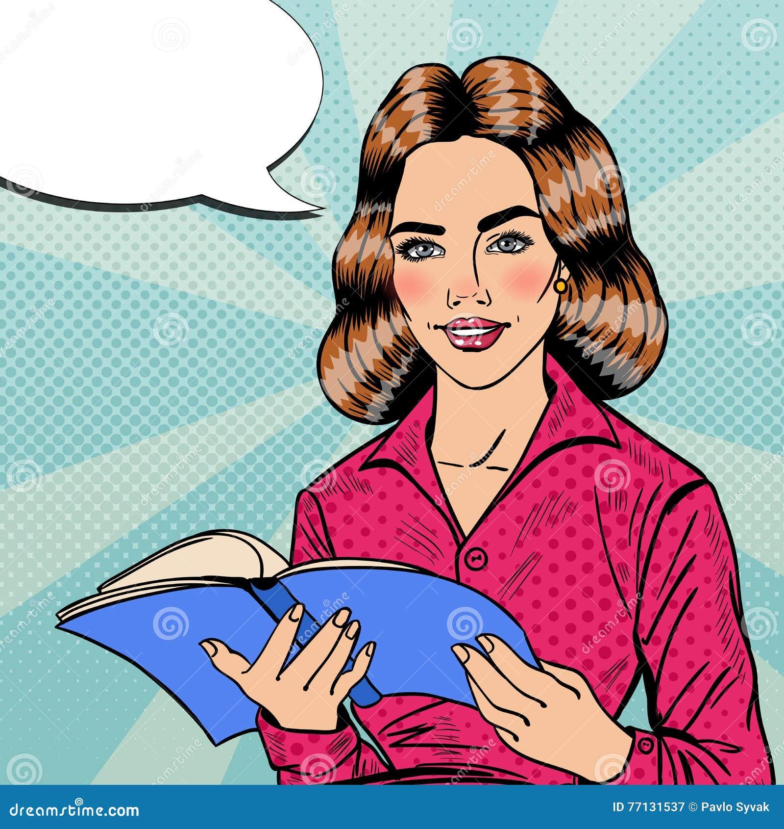 Estallido bastante sonriente Art Young Woman Reading Book