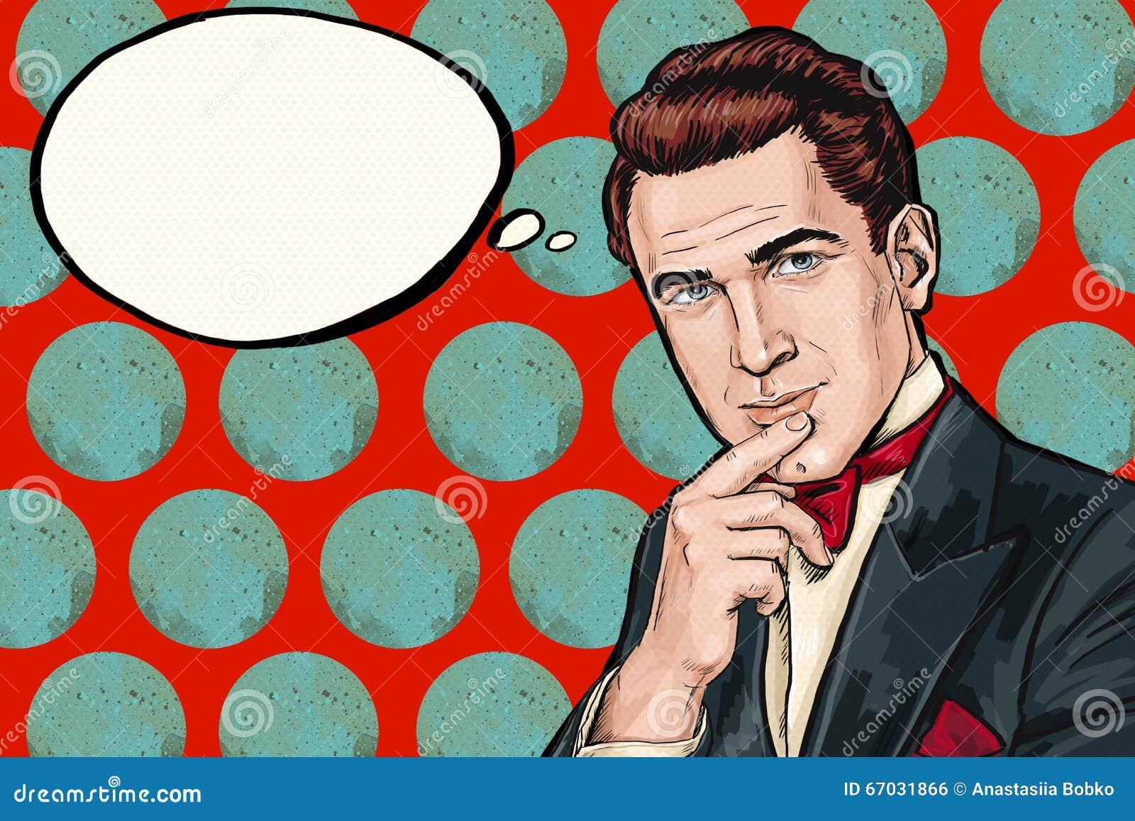 Estallido de pensamiento Art Man del vintage con la burbuja del pensamiento Invitación del partido Hombre de los tebeos excelente