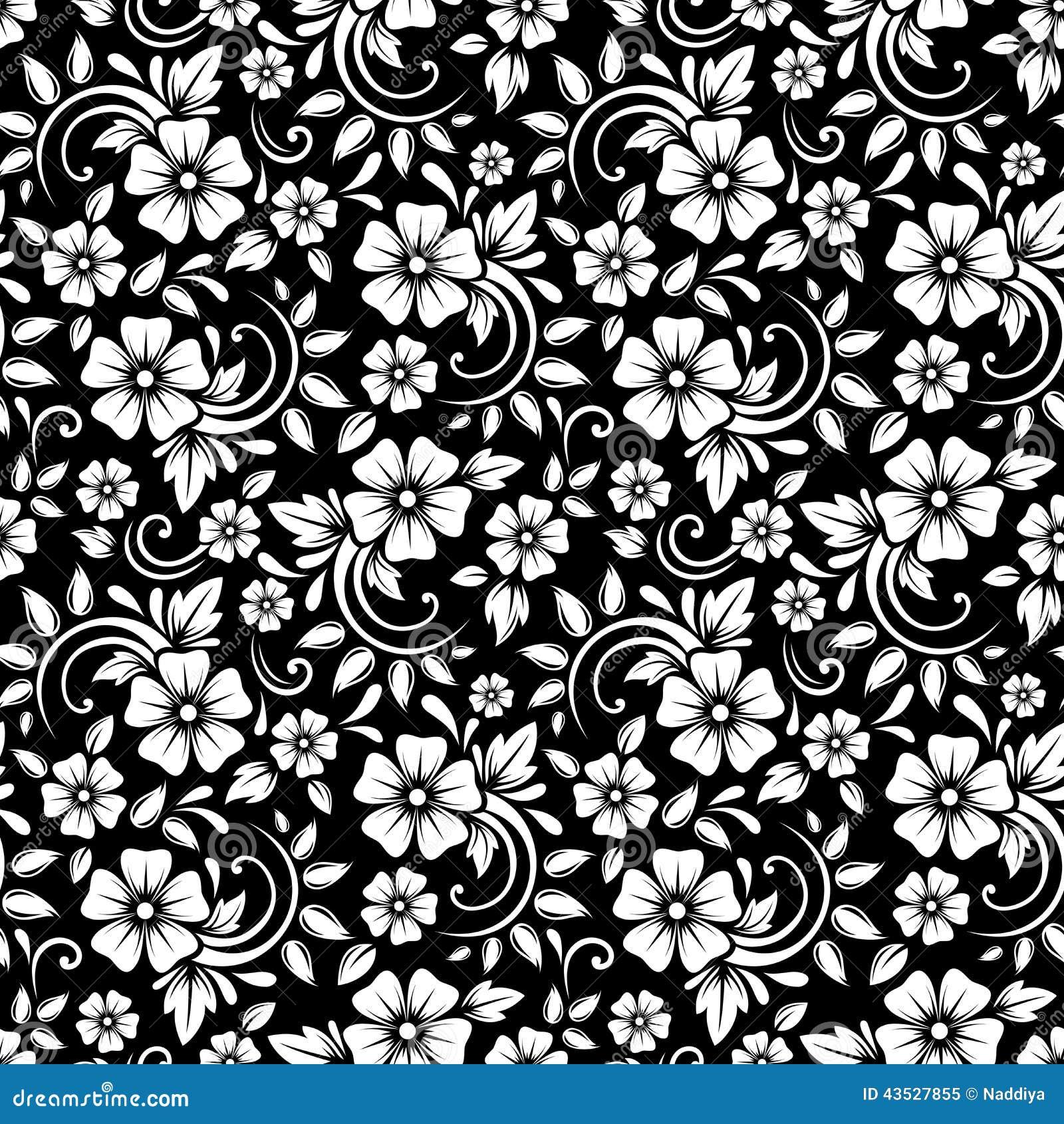 Estampado De Flores Blanco Inconsutil Del Vintage En Un Fondo Negro