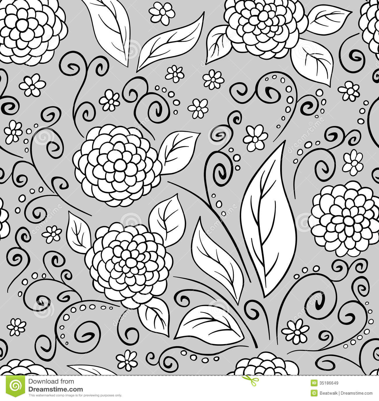 Estampado De Flores Blanco Y Negro Ilustración del Vector ...