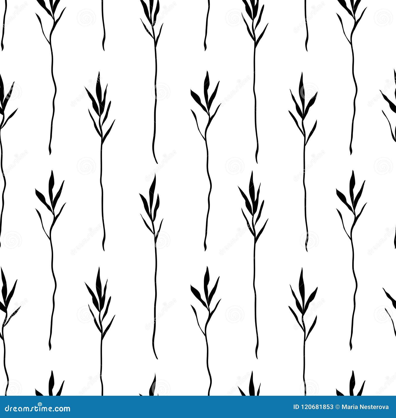 Estampado De Flores Blanco Y Negro Inconsutil Del Boho Repeticion De