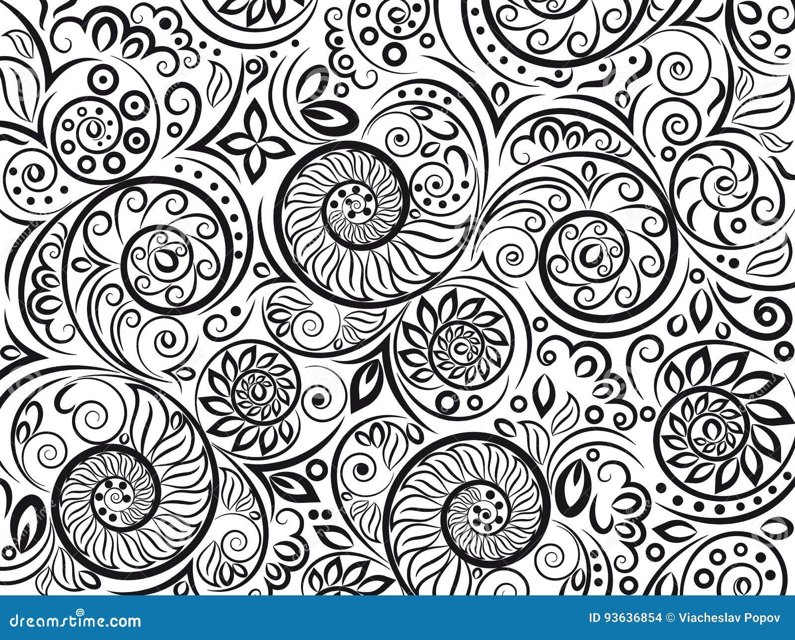 Estampado De Flores Blanco Y Negro Para El Libro De Colorear En