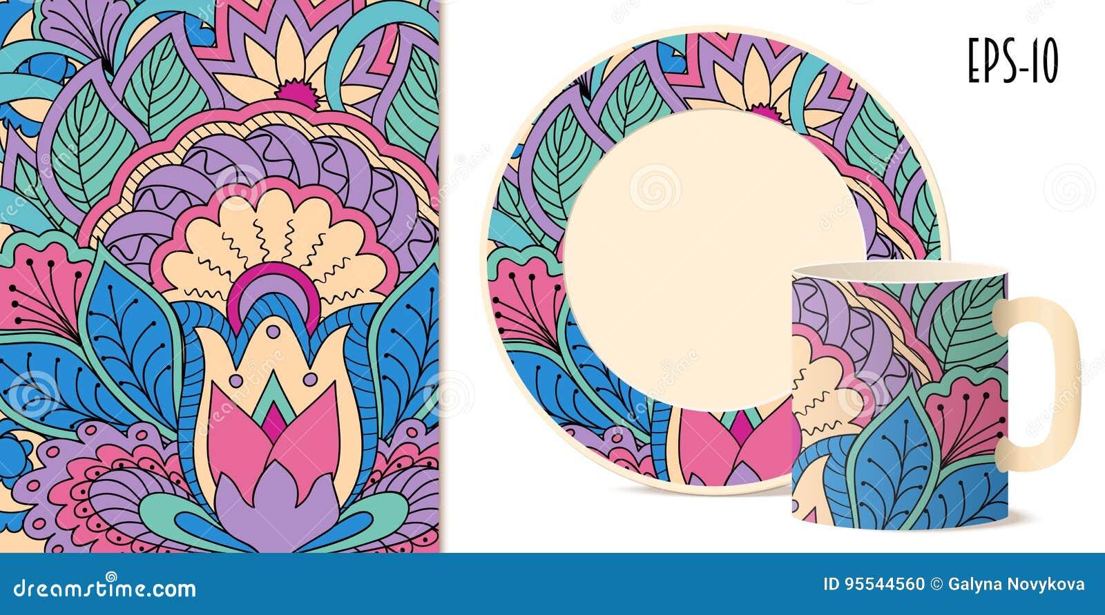 Estampado de flores colorido del zen con la mandala y loto para los platos