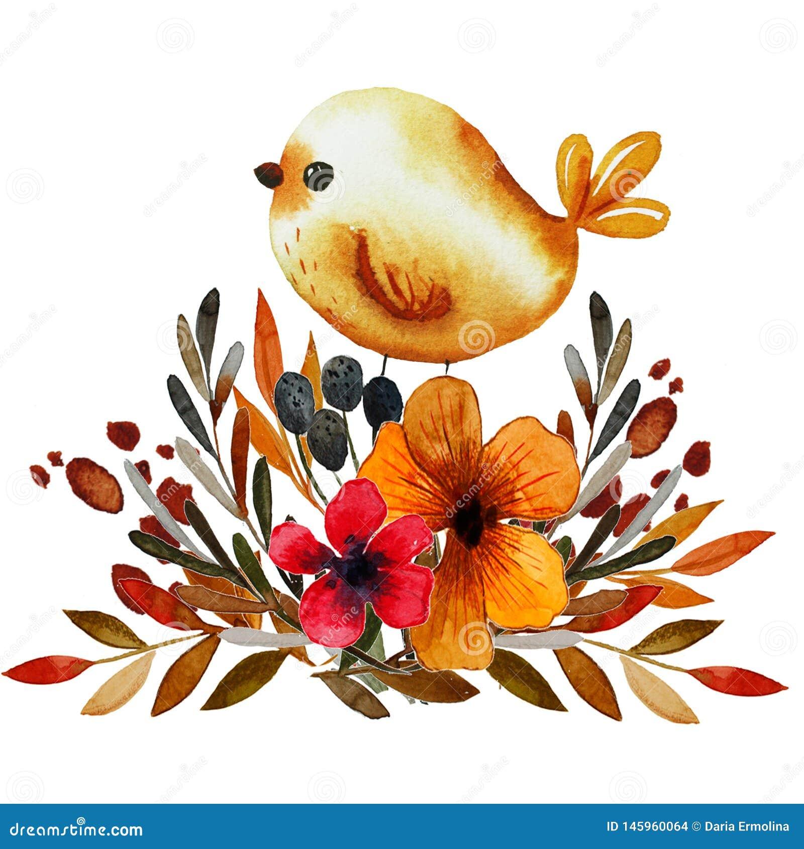 Estampado de flores del campo con el pájaro