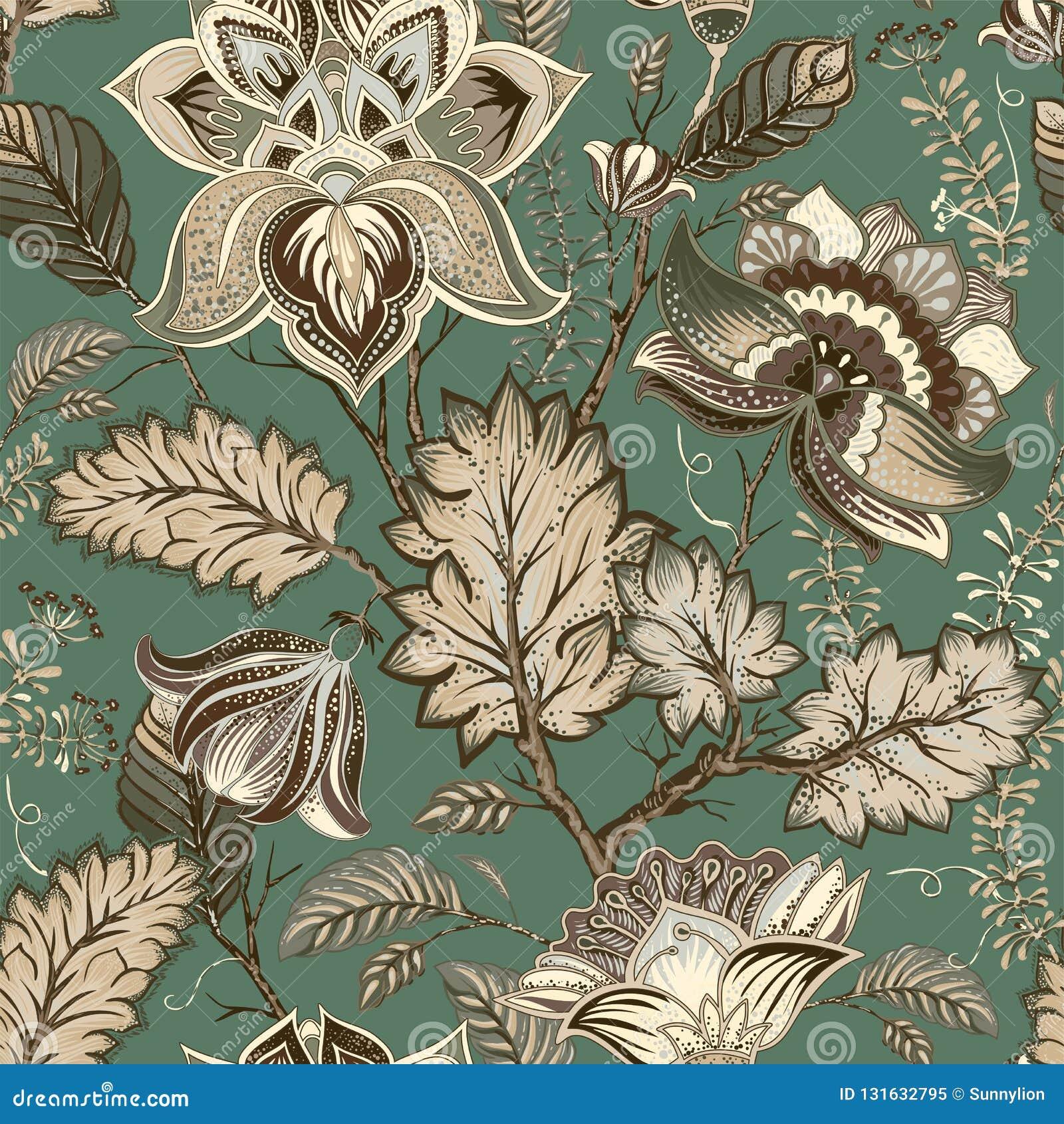 Estampado de flores del vintage del vector, estilo de Provence Flores estilizadas grandes en un fondo verde Diseño para la web, m