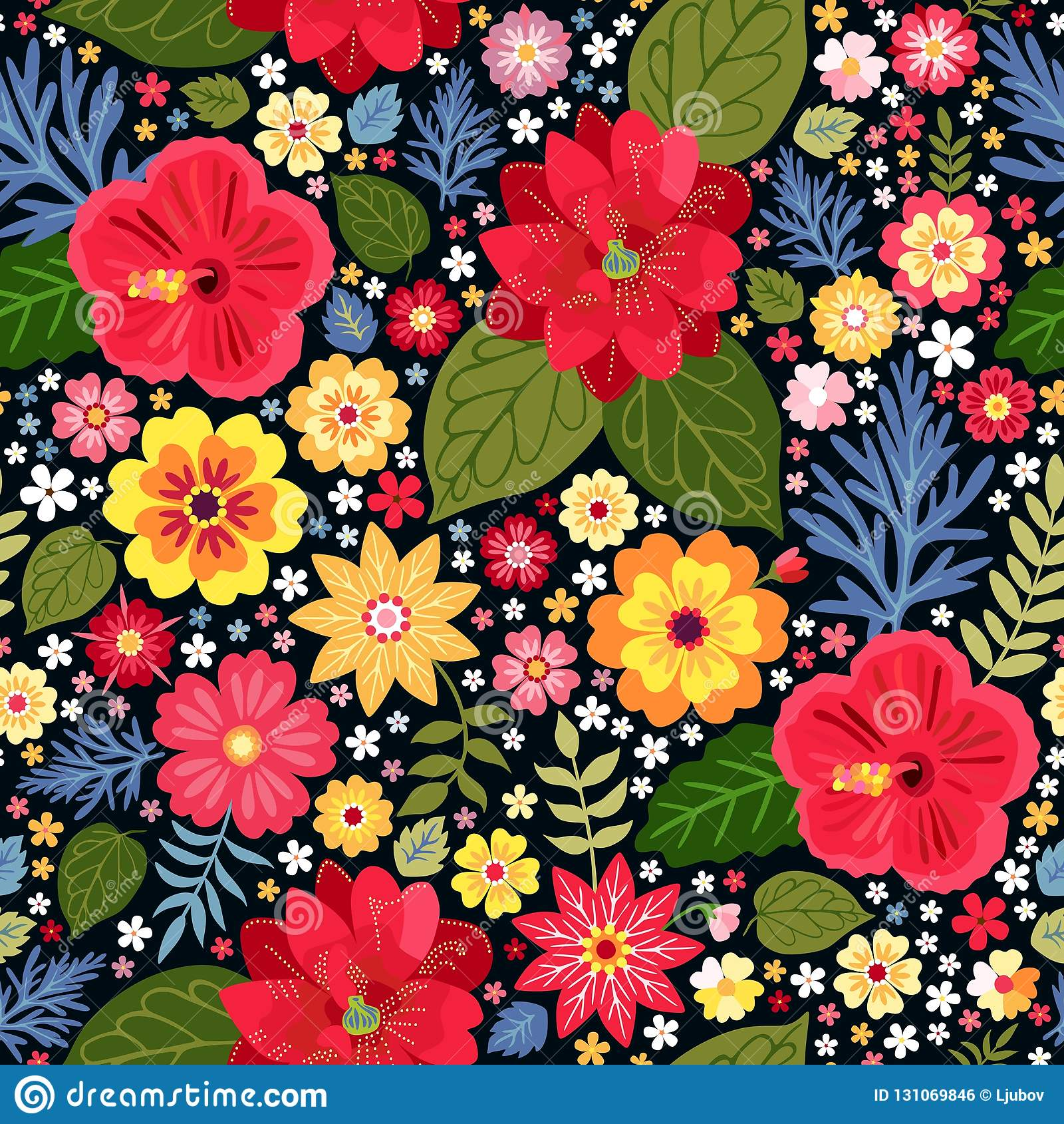 Estampado de flores ditsy vibrante con las flores exóticas en vector Fondo colorido inconsútil Ilustración del vector