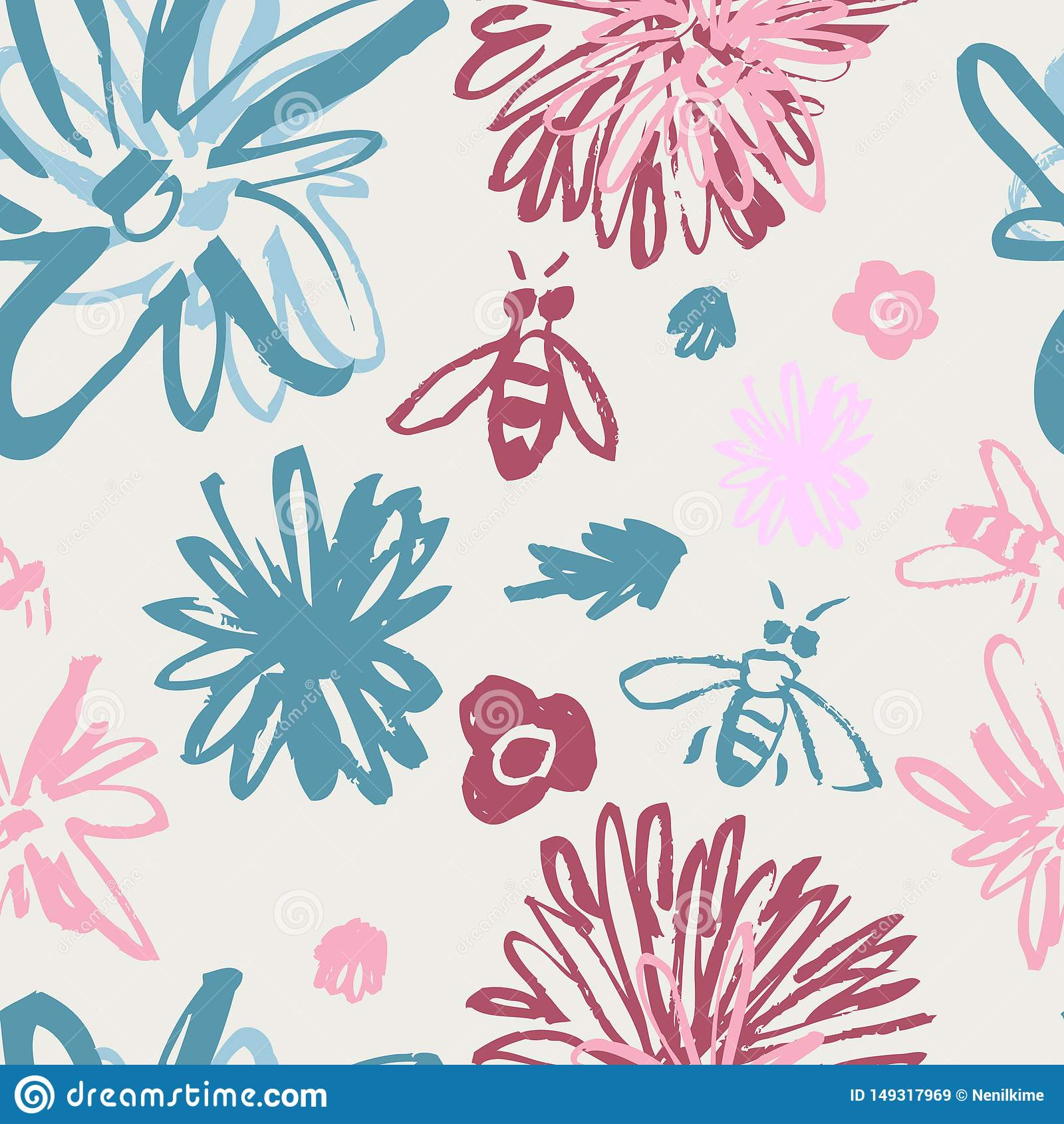 Estampado de flores enrrollado con las abejas azules y el fondo rosado