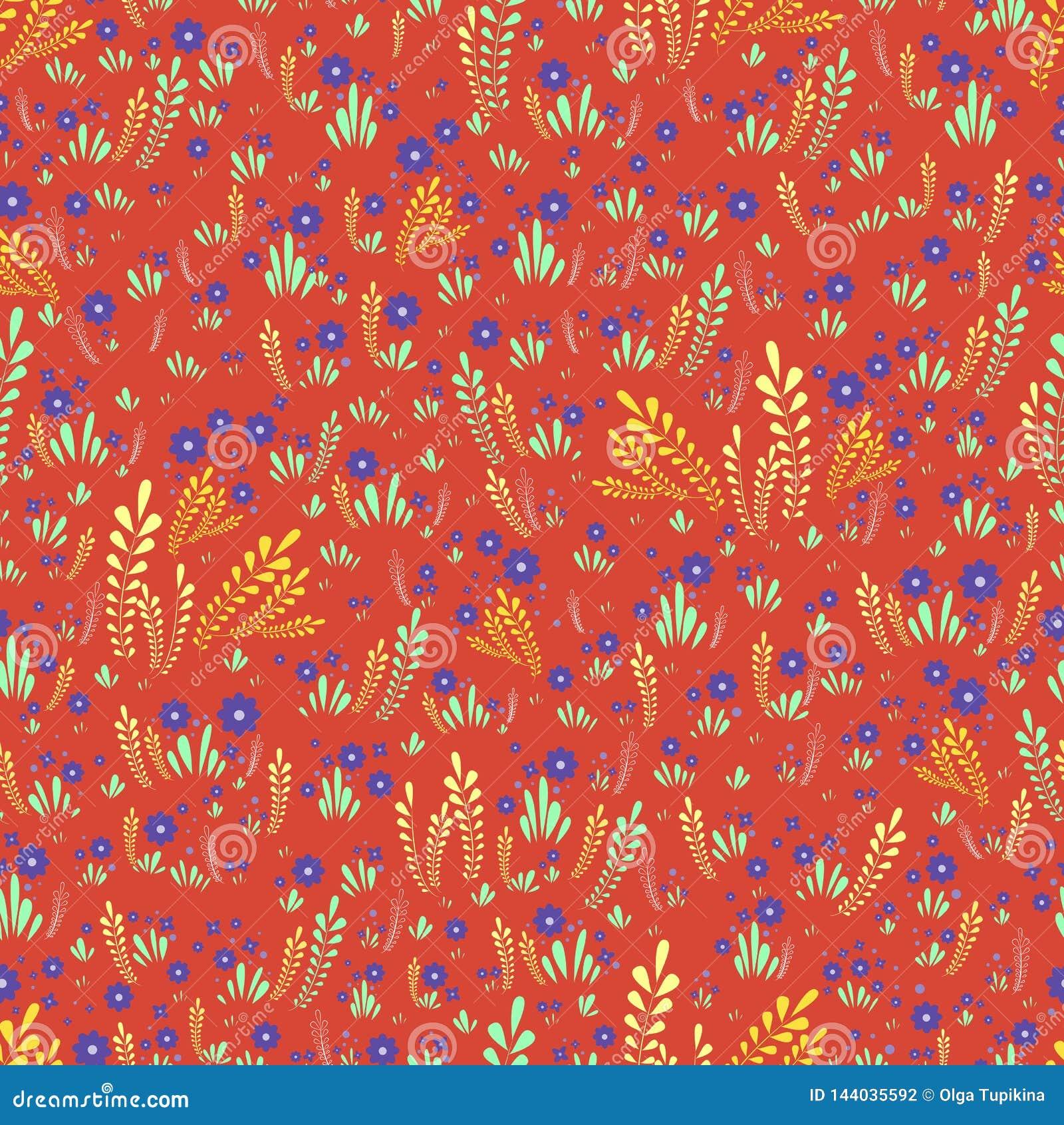 Estampado de flores inconsútil colorido artístico de las flores salvajes del campo Flores y plantas decorativas en un fondo anara