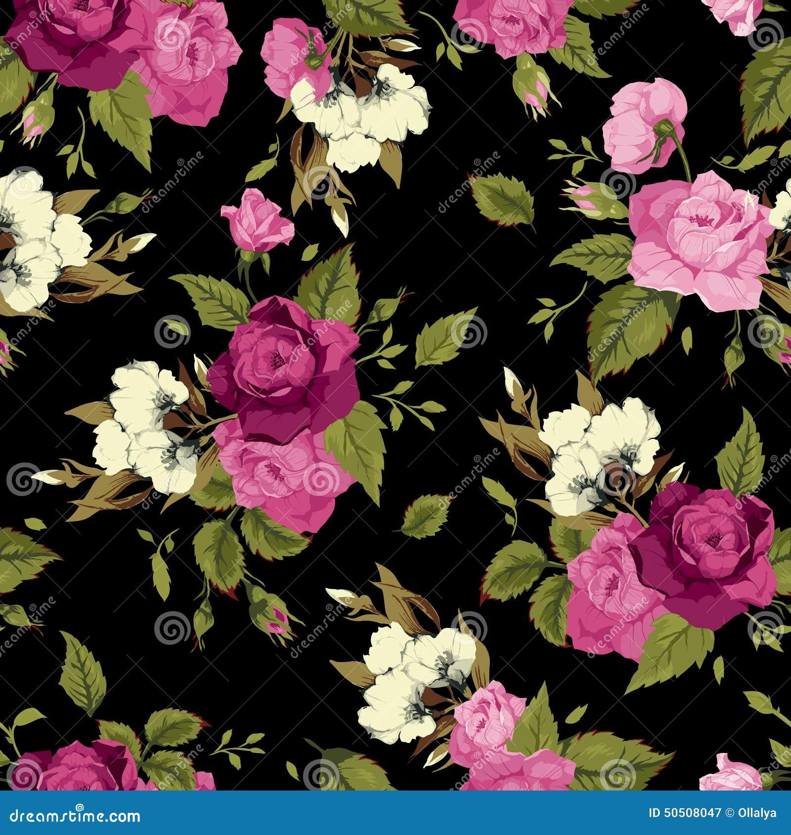 Estampado De Flores Inconsutil Con Las Rosas Rosadas En Fondo Negro
