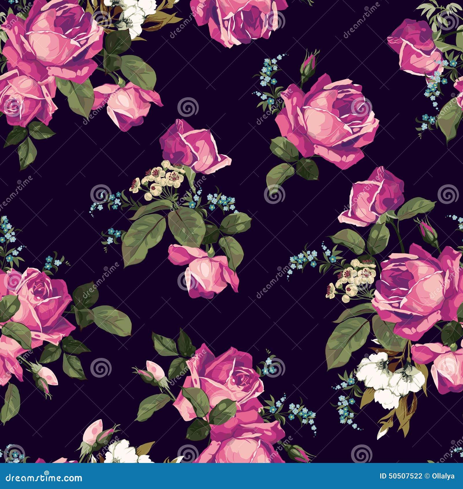 estampado de flores inconsútil con las rosas rosadas en fondo oscuro