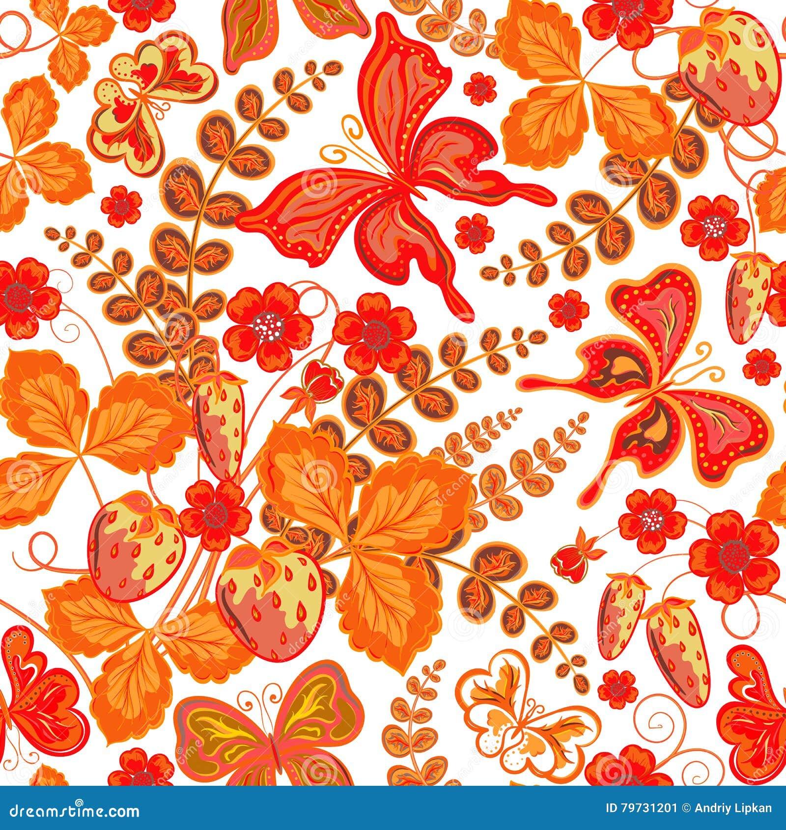 Estampado de flores inconsútil de la primavera con las fresas y flores y mariposas y x28; vector EPS 10& x29;