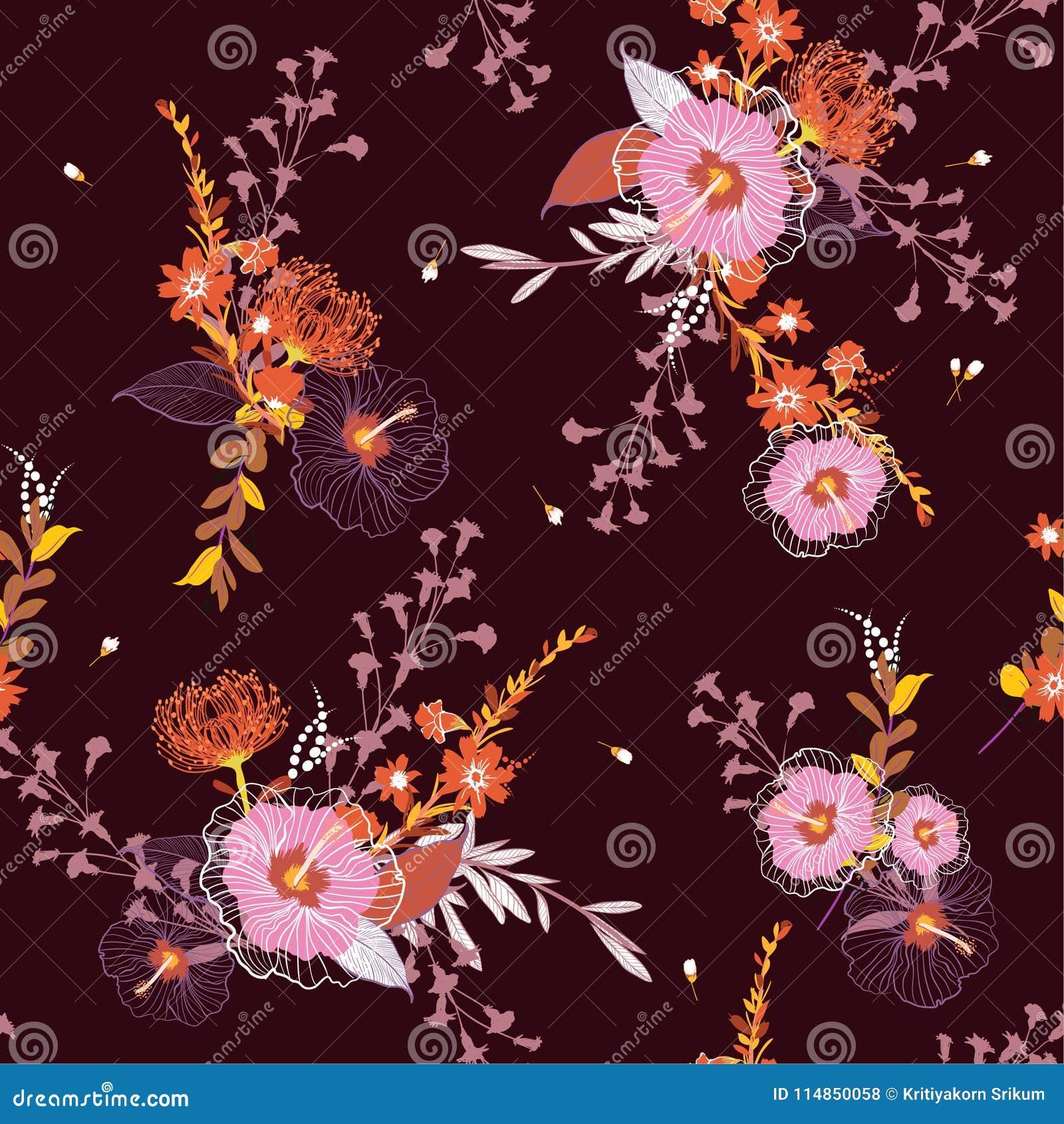 Estampado de flores inconsútil del vector del vintage hermoso, backgr colorido