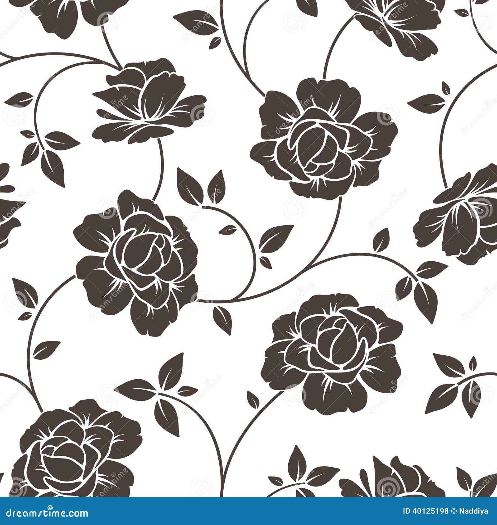 Estampado De Flores Negro Del Vector Y Rojo Inconsutil