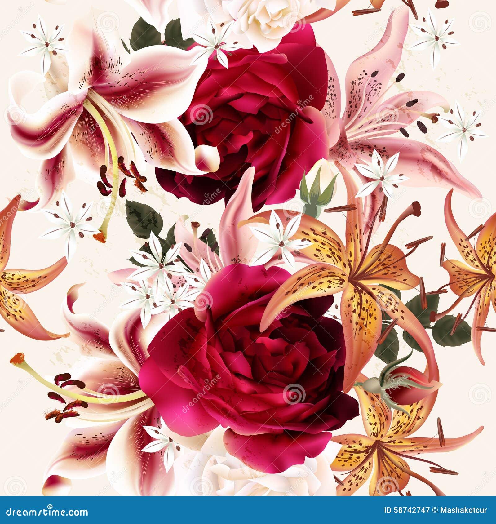 Estampado de flores inconsútil hermoso con las rosas en estilo de la acuarela