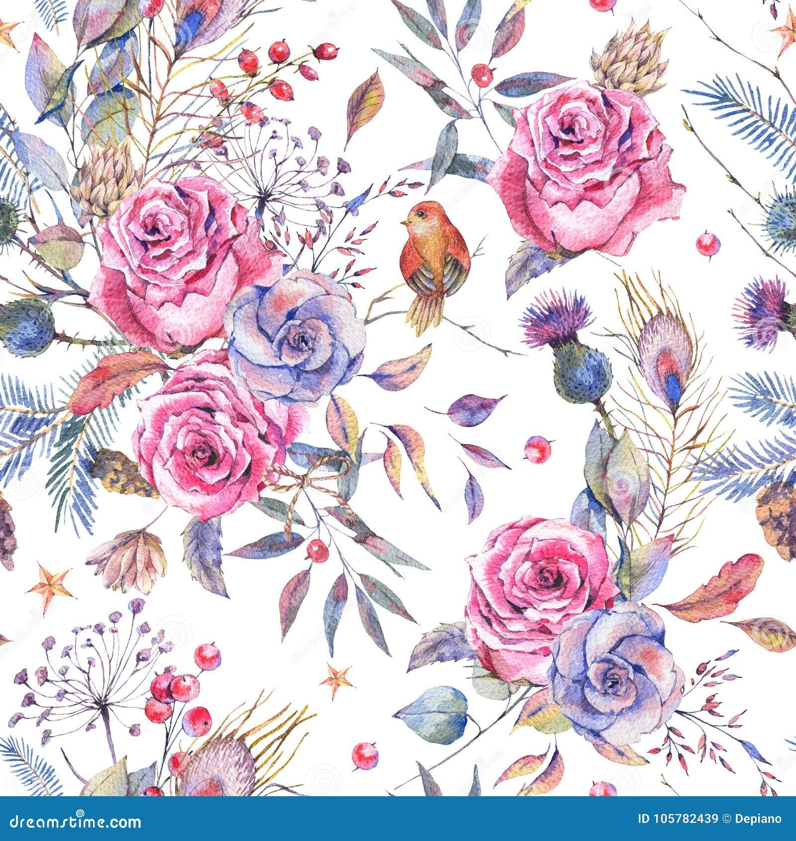 Estampado De Flores Inconsutil De La Acuarela Con Las Rosas Del