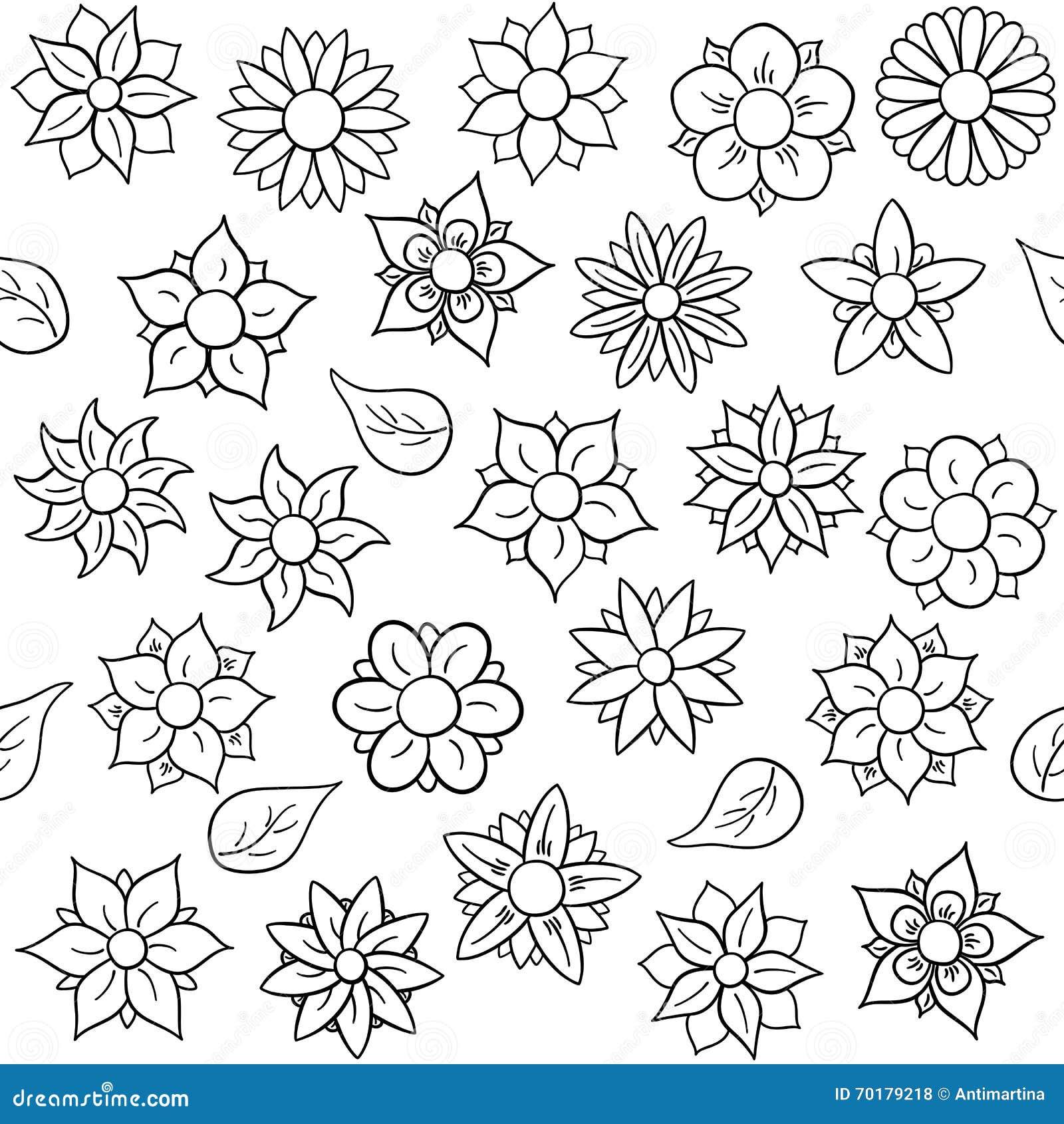 Estampado De Flores Inconsútil Para Colorear Ilustración Del Vector