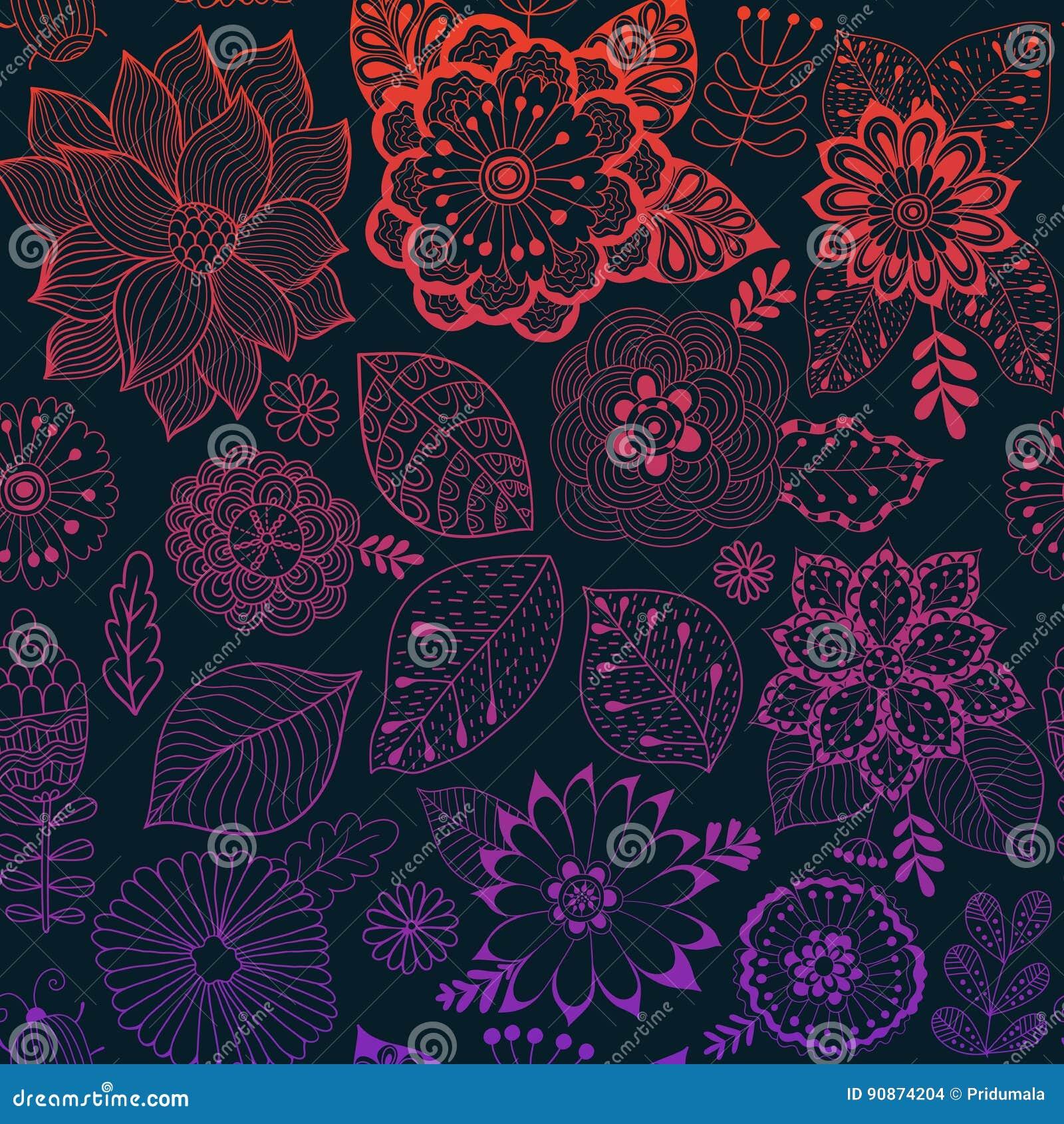 Estampado de plores del vector Textura botánica inconsútil colorida, ejemplos detallados de las flores Todos los elementos no se