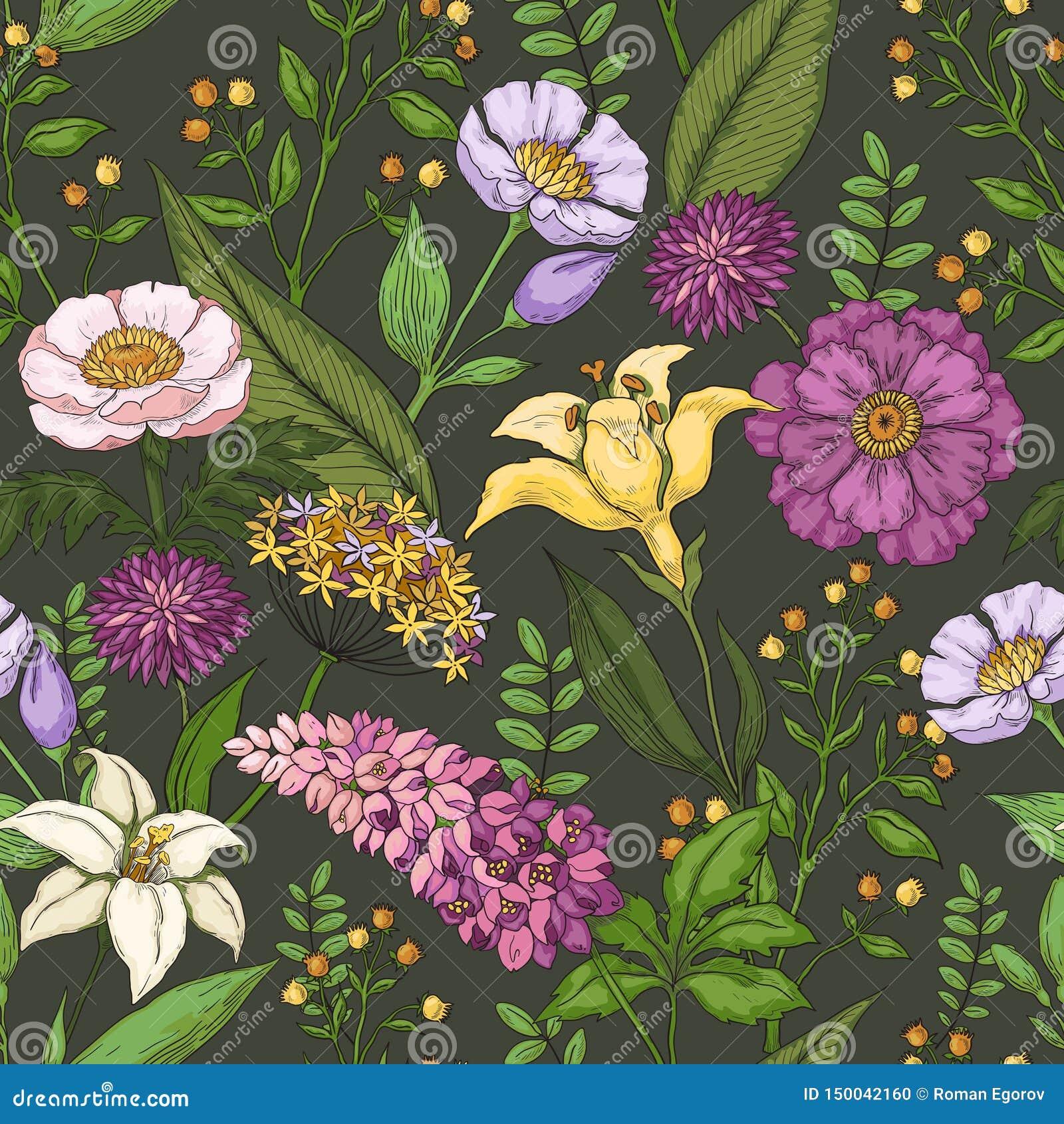 Estampado de plores dibujado mano Impresión inconsútil del verano del extracto, ornamento hermoso de la moda de la naturaleza Flo