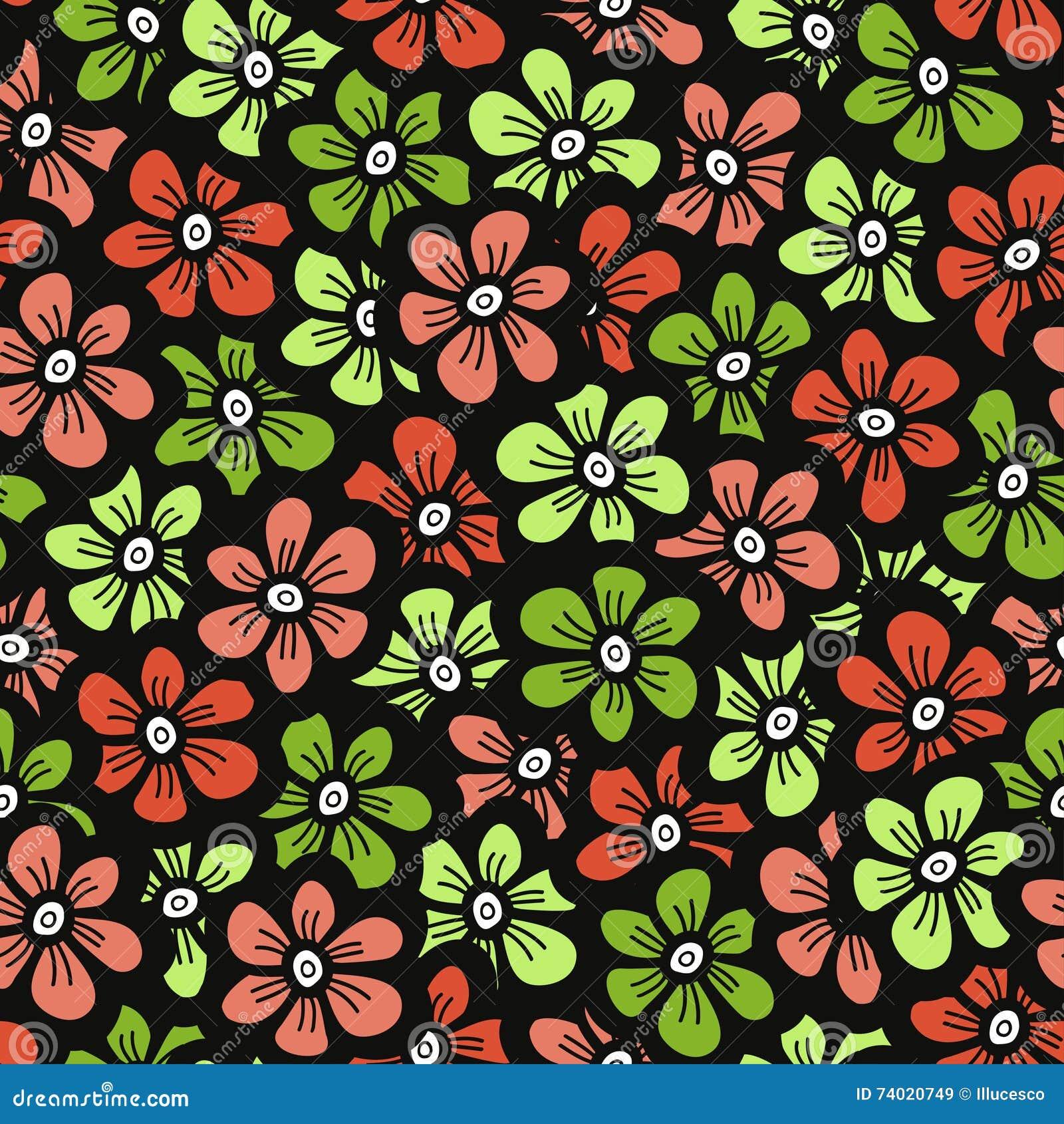 Estampado de plores verde y anaranjado del garabato Fondo lindo inconsútil del flor Papel pintado de la primavera