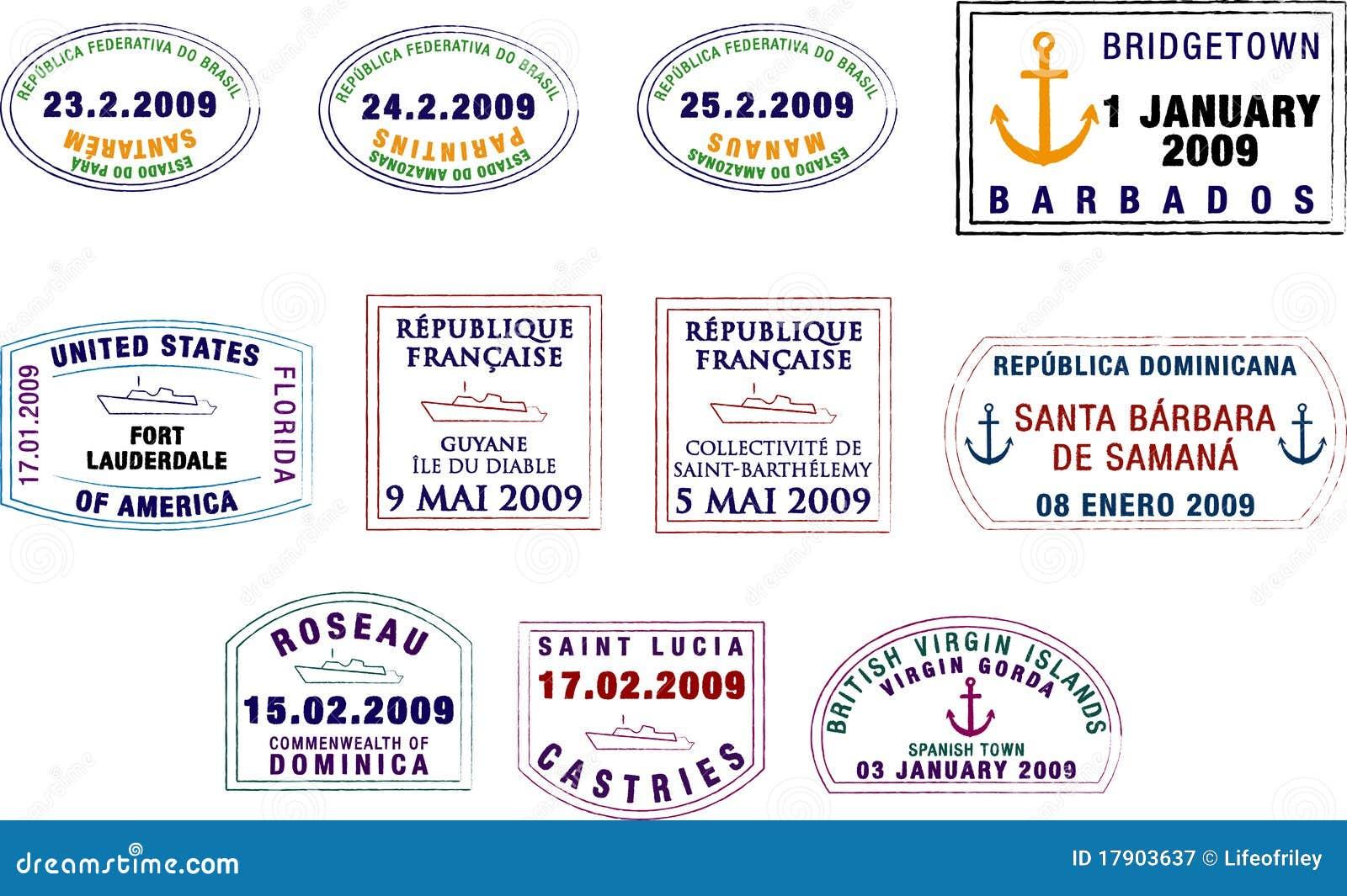 Estampilles des Caraïbes et sud-américaines de passeport