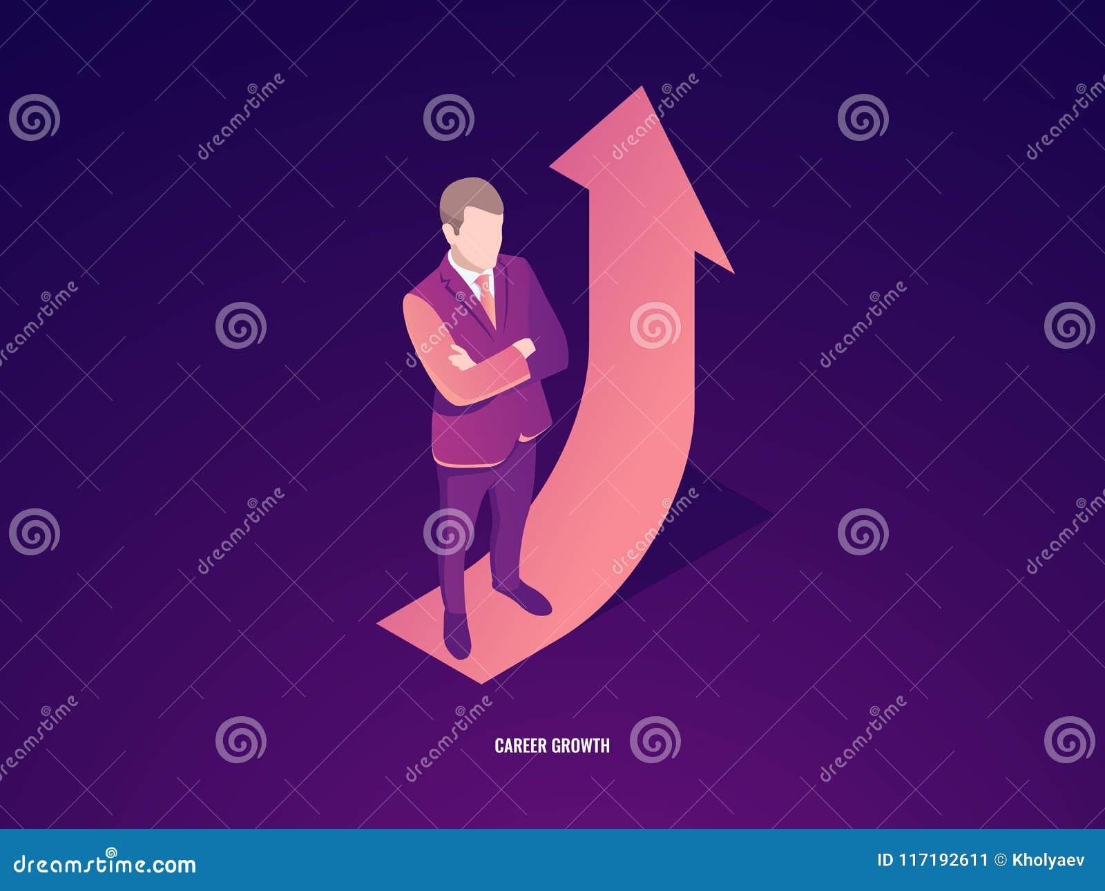 Estancia del hombre de negocios en flecha para arriba, crecimiento de la carrera, vector isométrico del éxito empresarial