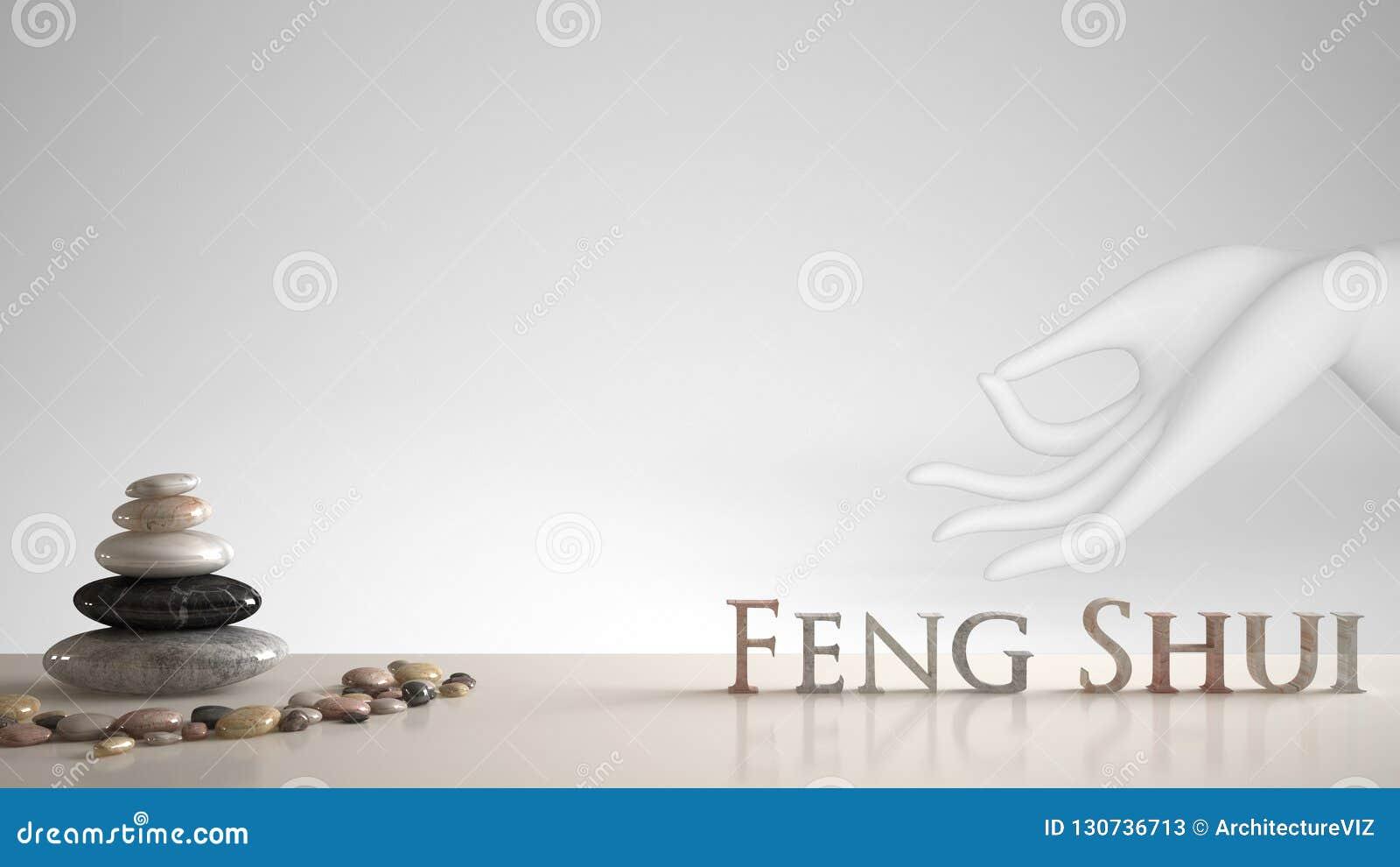 Estante blanco de la tabla con la balanza del guijarro y letras 3d que hacen el shui del feng de la palabra sobre la mano blanca