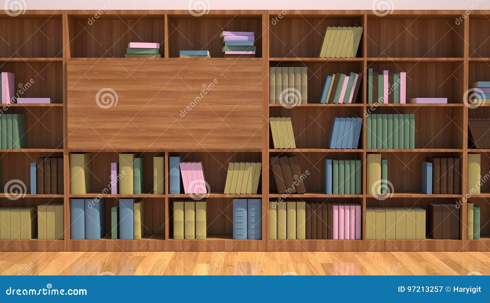 Estante Con Los Libros Concepto De La Librería De La